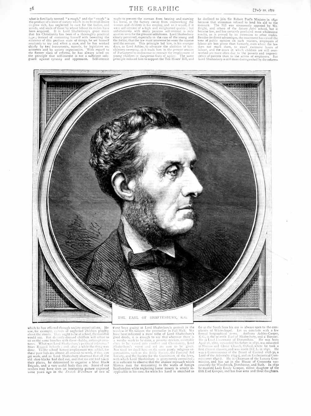 [Print 1872 Portrait Earl Shaftesbury Man 056M106 Old Original]