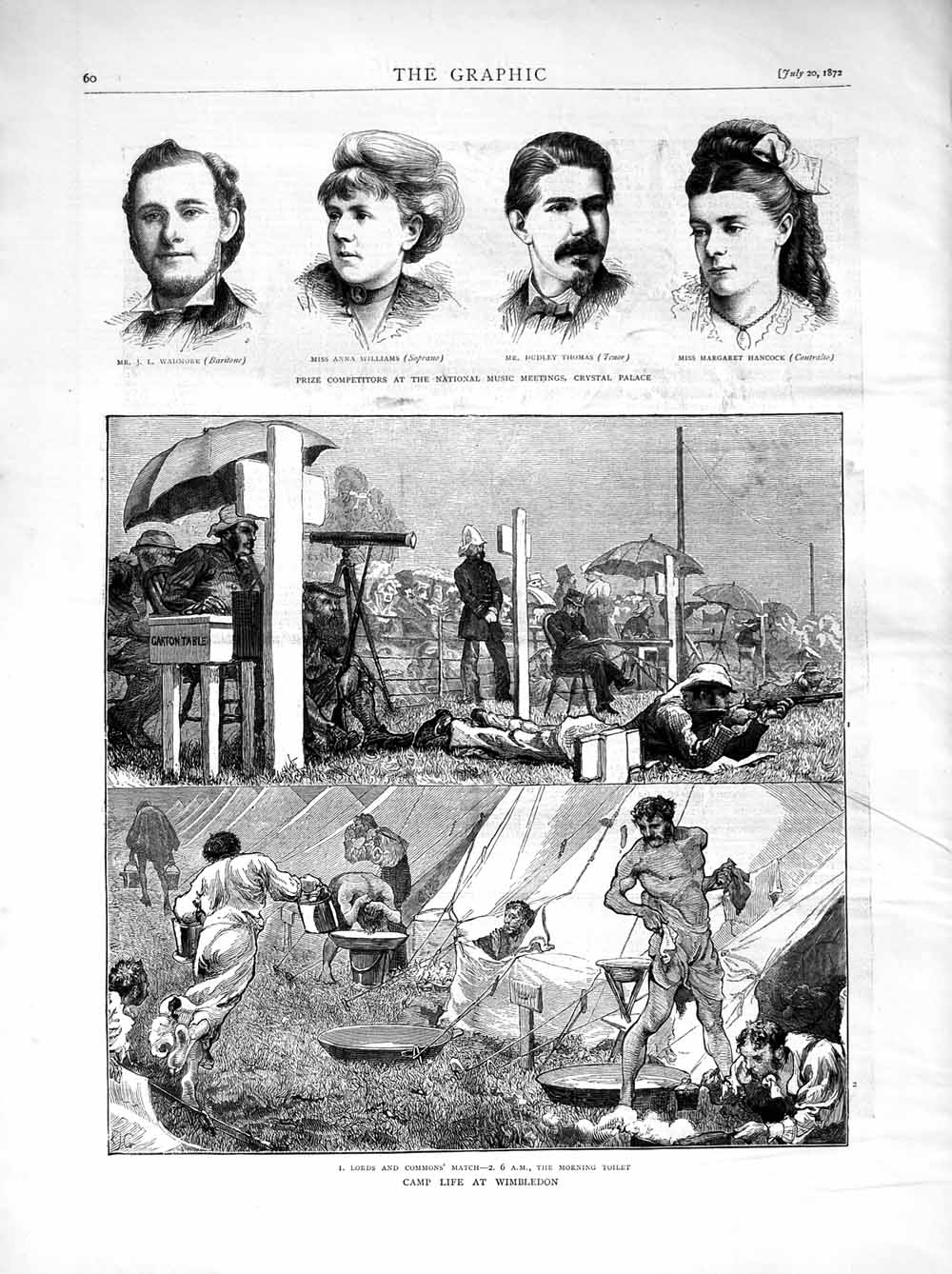 [Print 1872 Wimbledon Rifle Shooting Wadmore Williams Thomas 060M106 Old Original]
