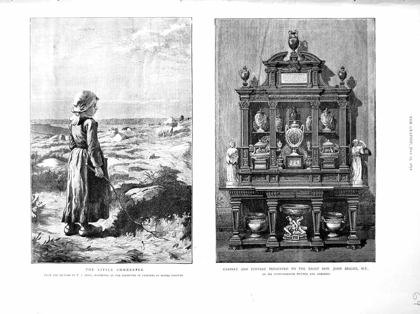 [Print 1872 Little Girl Cowkeeper Cabinet Pottery John Bright 069M106 Old Original]