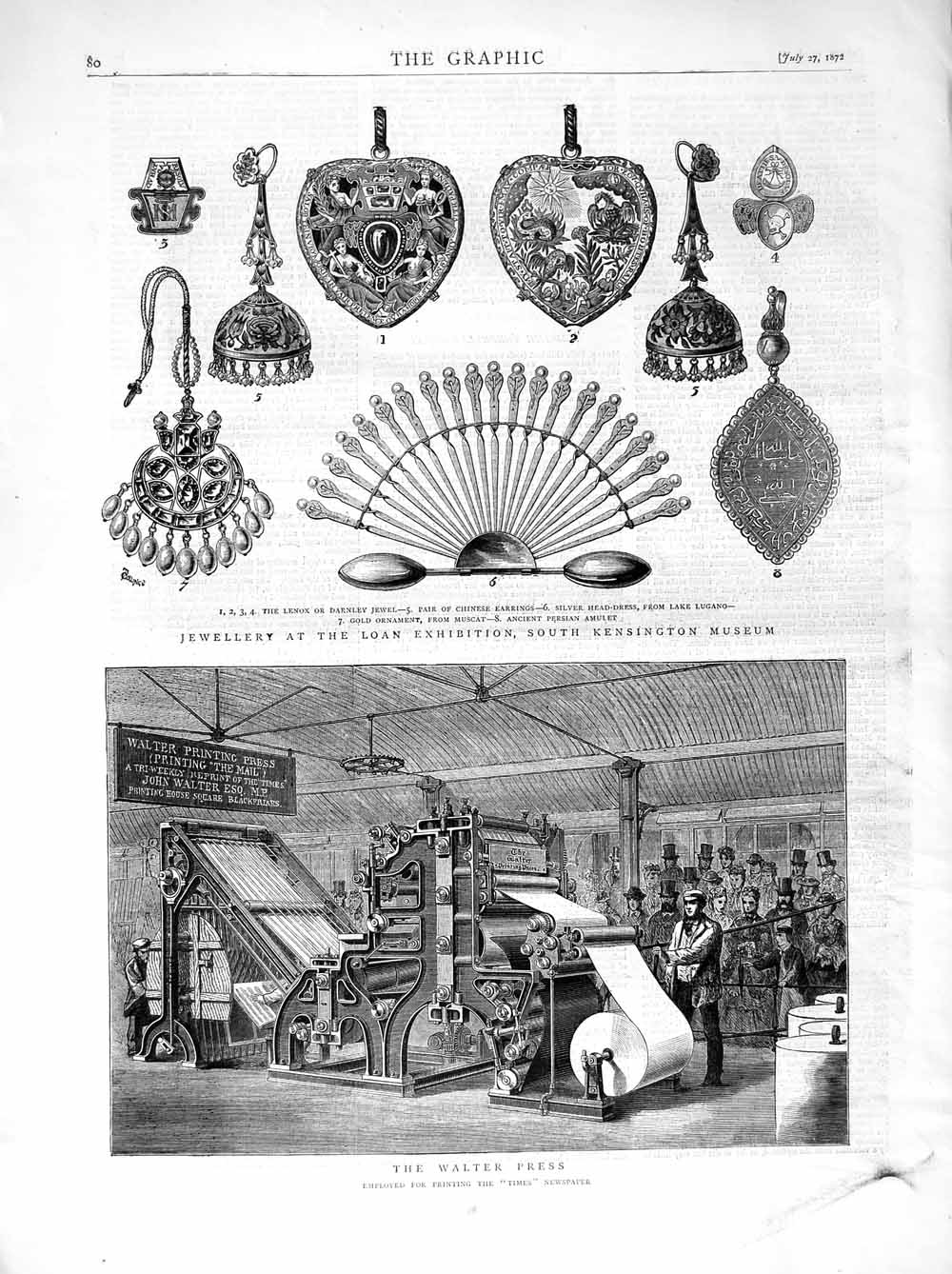 [Print 1872 Walter Press Times Newspaper Jewellery Kensington 080M106 Old Original]