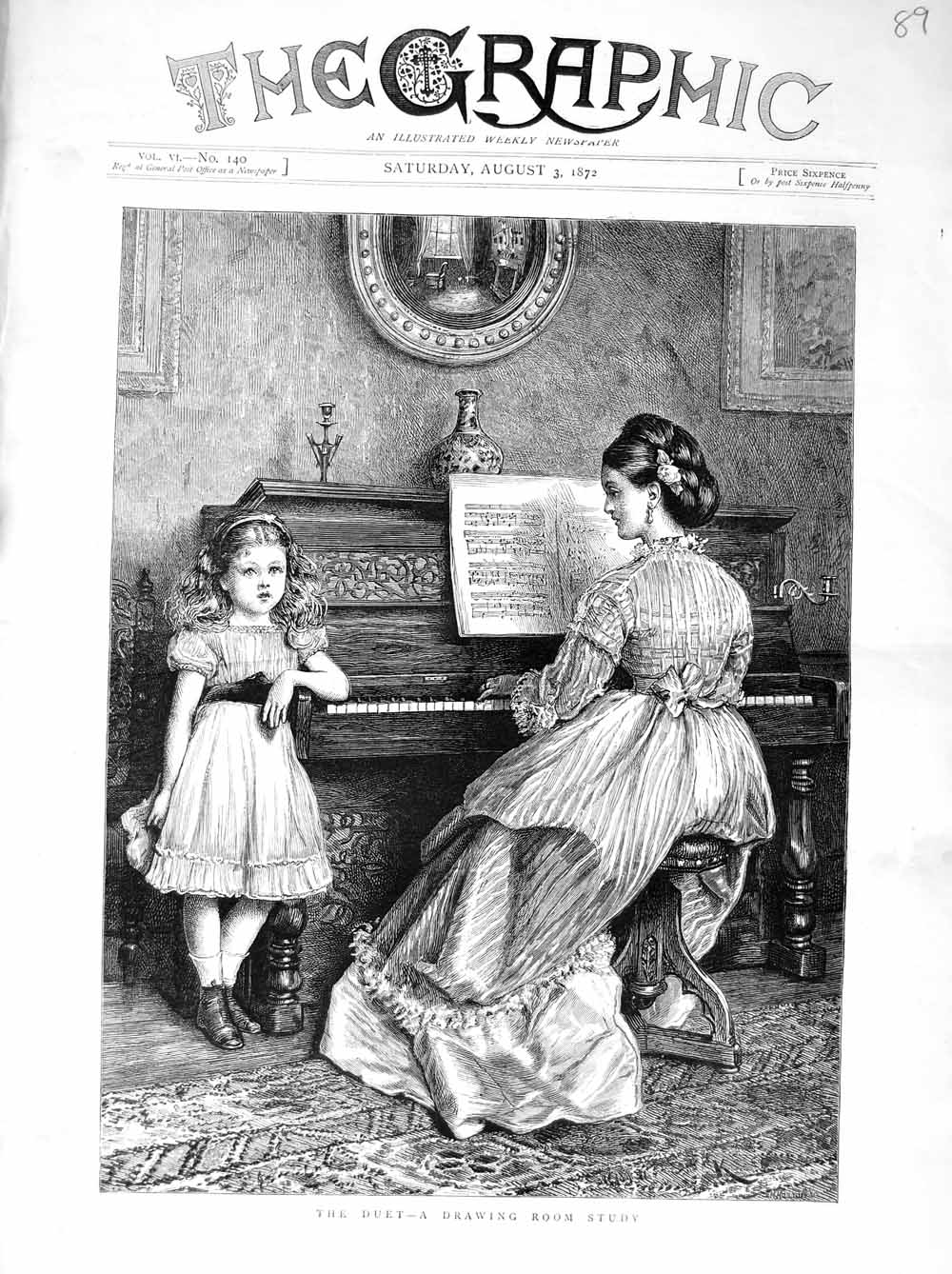 [Print 1872 Lady Little Girl Music Piano House Duet 089M106 Old Original]