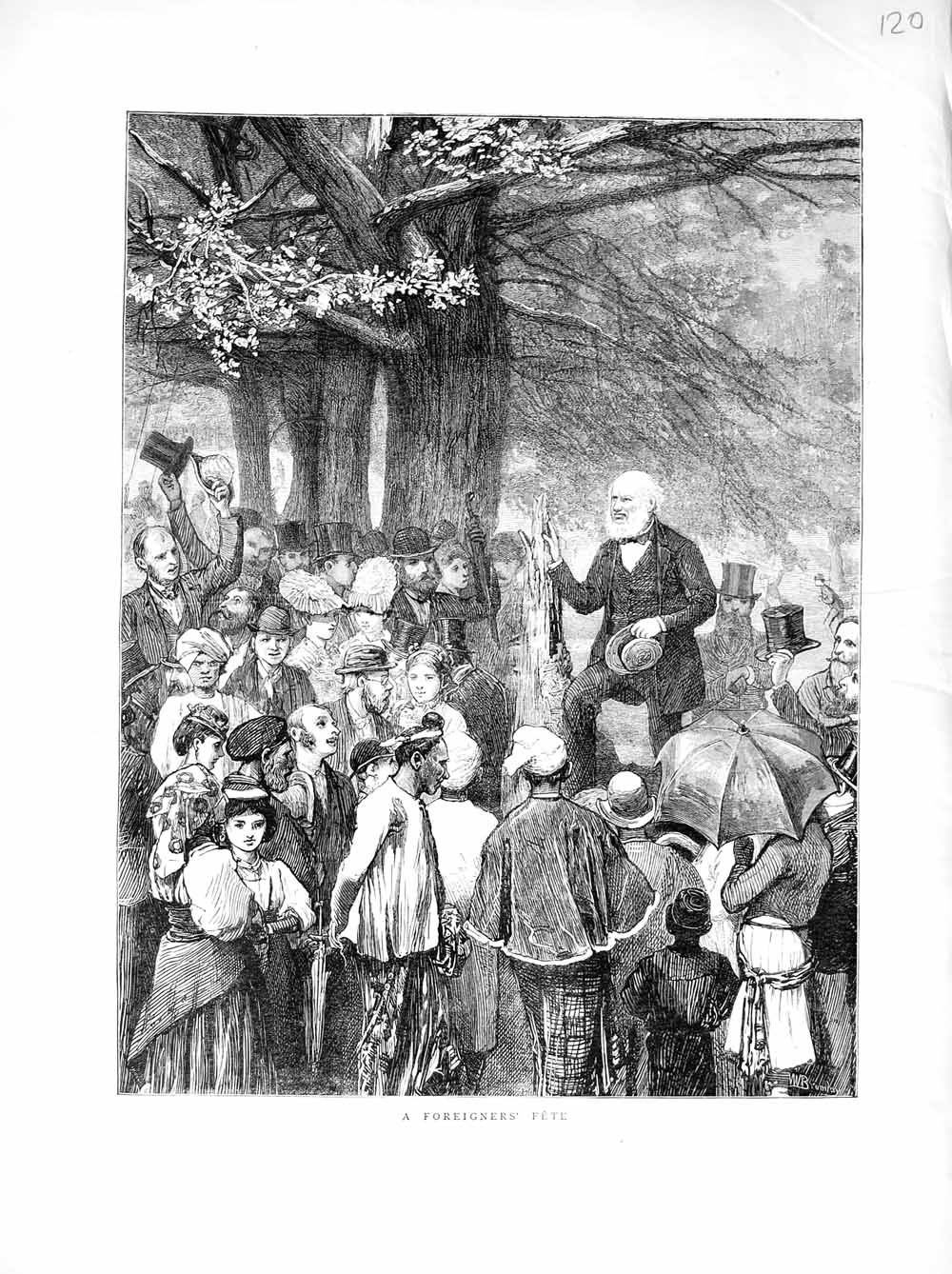 [Print 1872 Foreigners People Fete Country Children 120M106 Old Original]