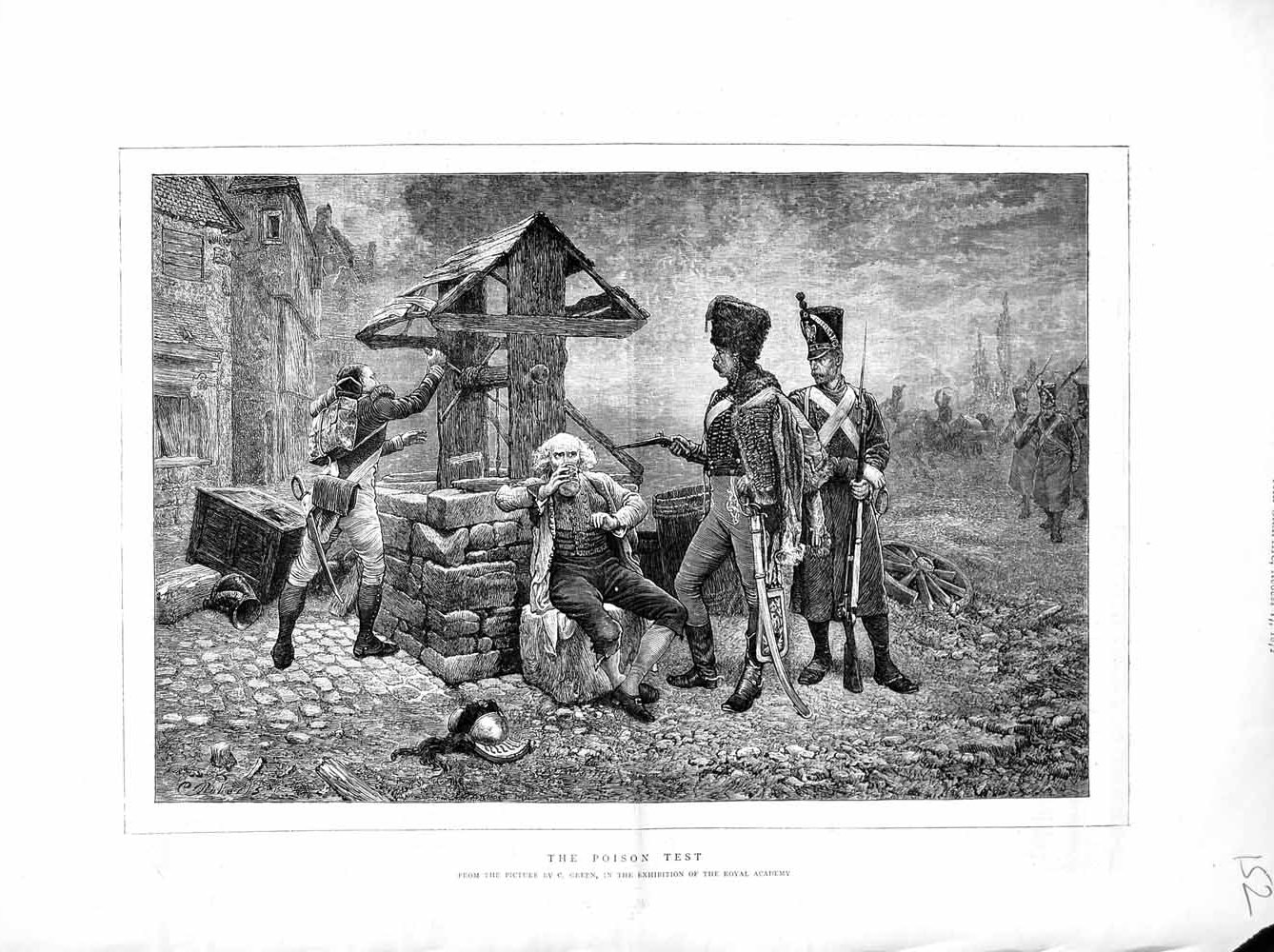 [Print 1872 Soldiers Weapons Man Drinking Well Green 152M106 Old Original]