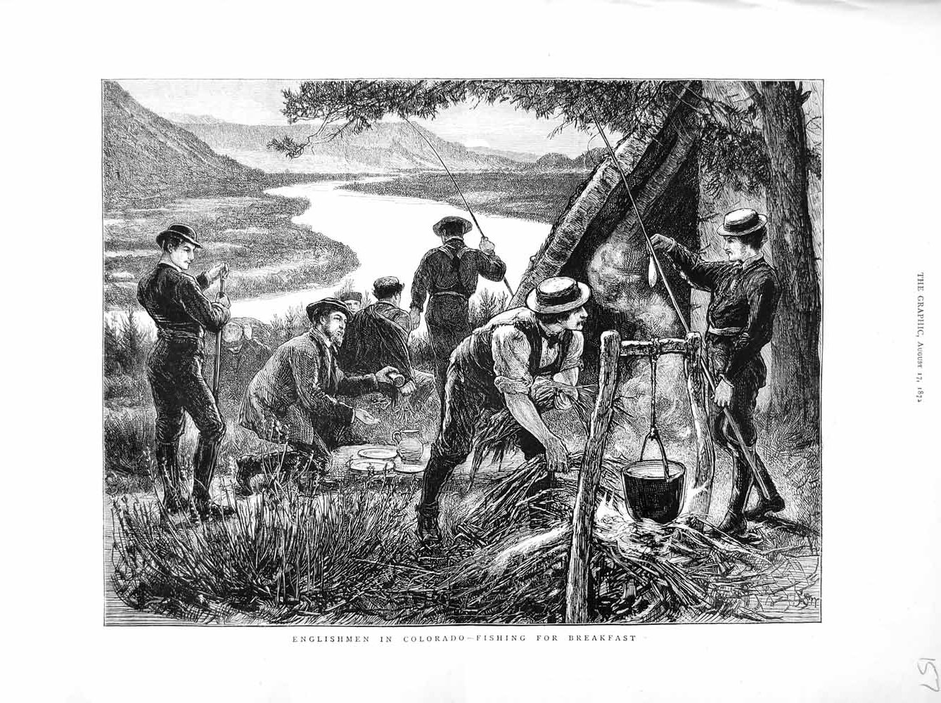 [Print 1872 Englishmen Colorado America Fishing River Country 157M106 Old Original]