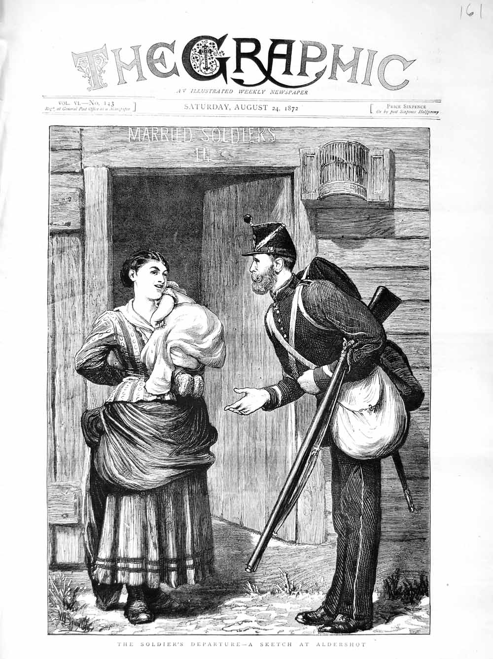 [Print 1872 Soldier Departure Aldershot Mother Baby War 161M106 Old Original]
