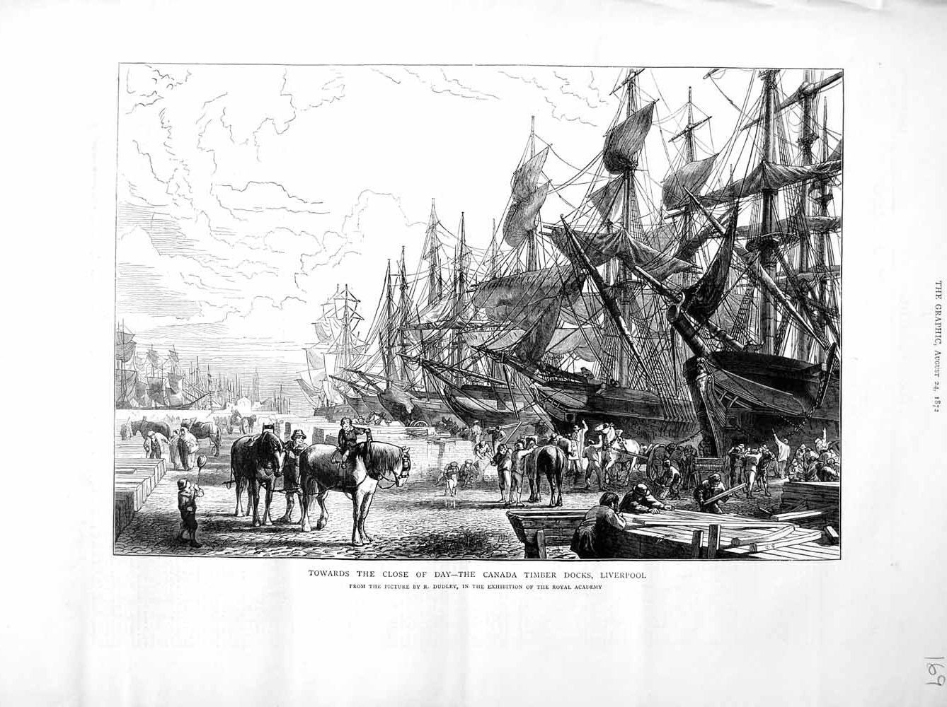 [Print 1872 Canada Timber Docks Liverpool Ships Horses Dudley 169M106 Old Original]