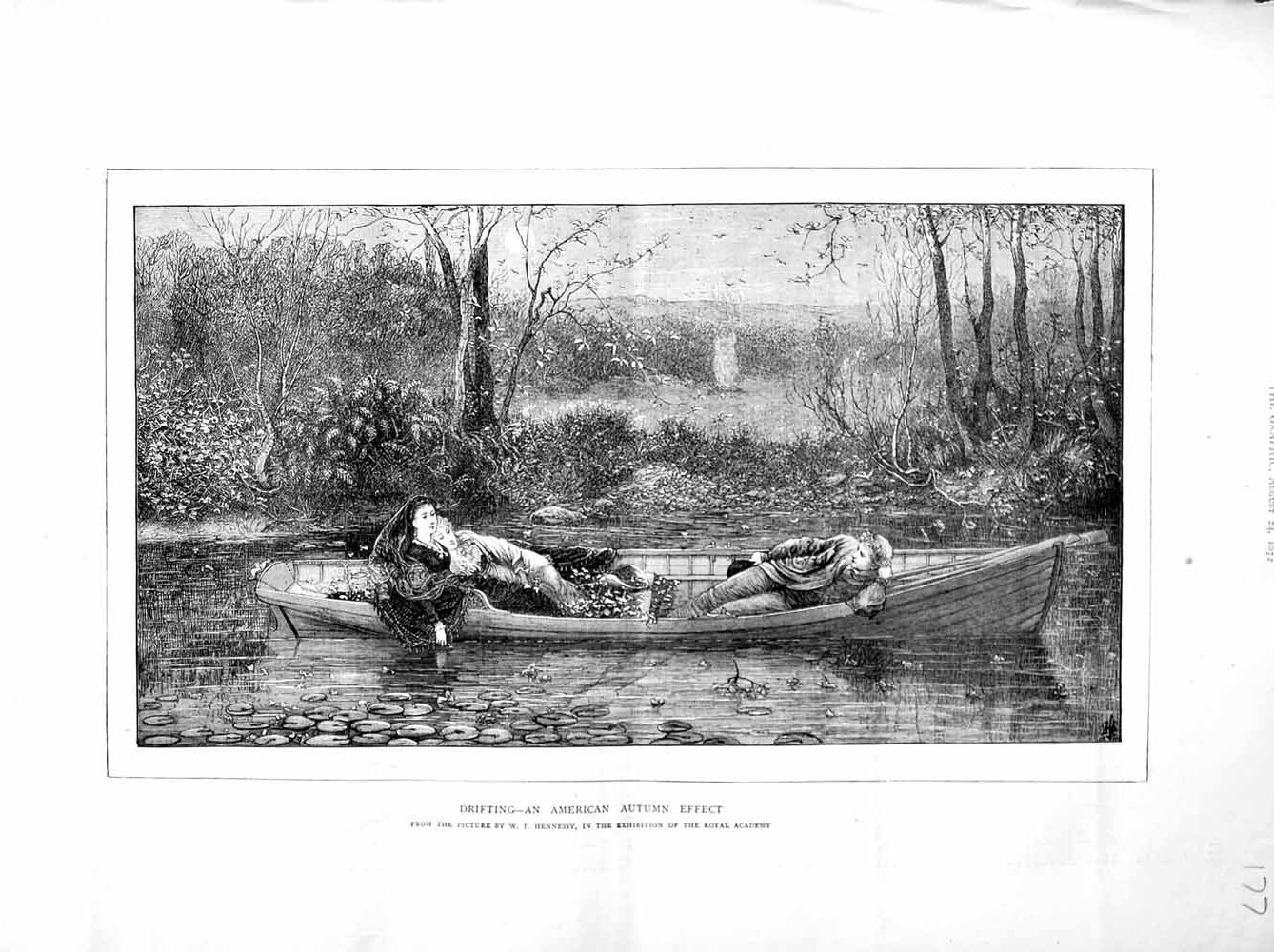 [Print 1872 River Boat America Autumn Trees Flowers Moonlight 177M106 Old Original]