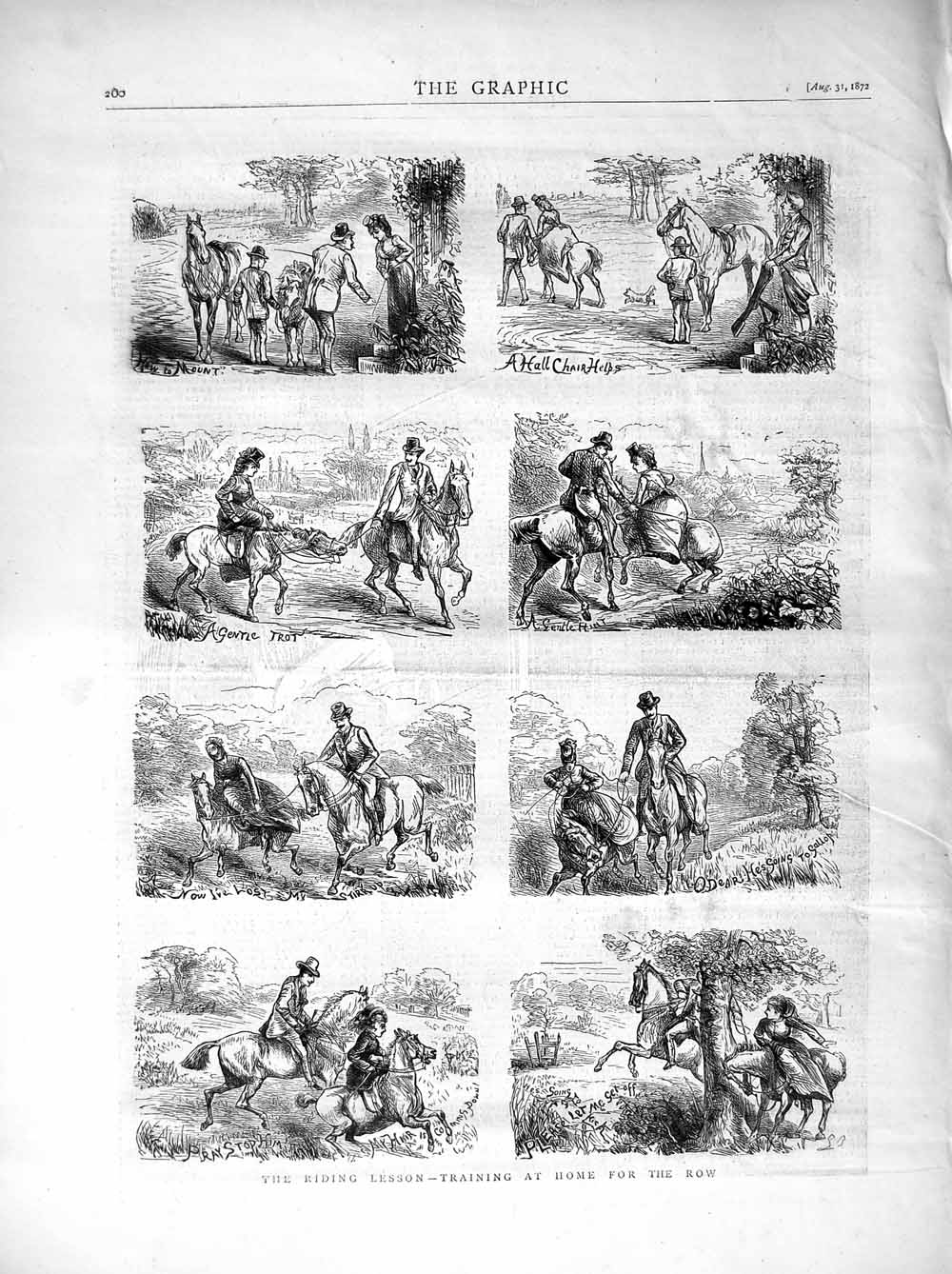 [Print 1872 Horse Riding Lessons Country Training Children 200M106 Old Original]
