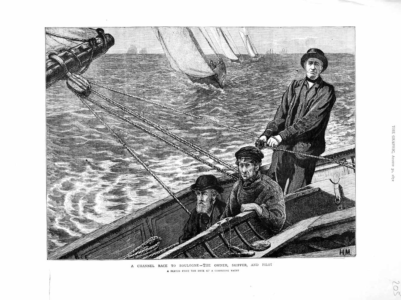 [Print 1872 English Channel Race Boulogne Skipper Pilot Boat 205M106 Old Original]