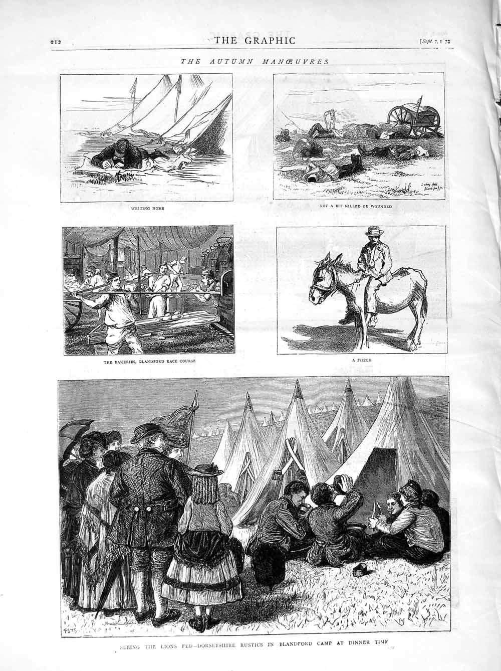 [Print 1872 Soliders Dorsetshire Blandford Camp Dinner Horse 212M106 Old Original]