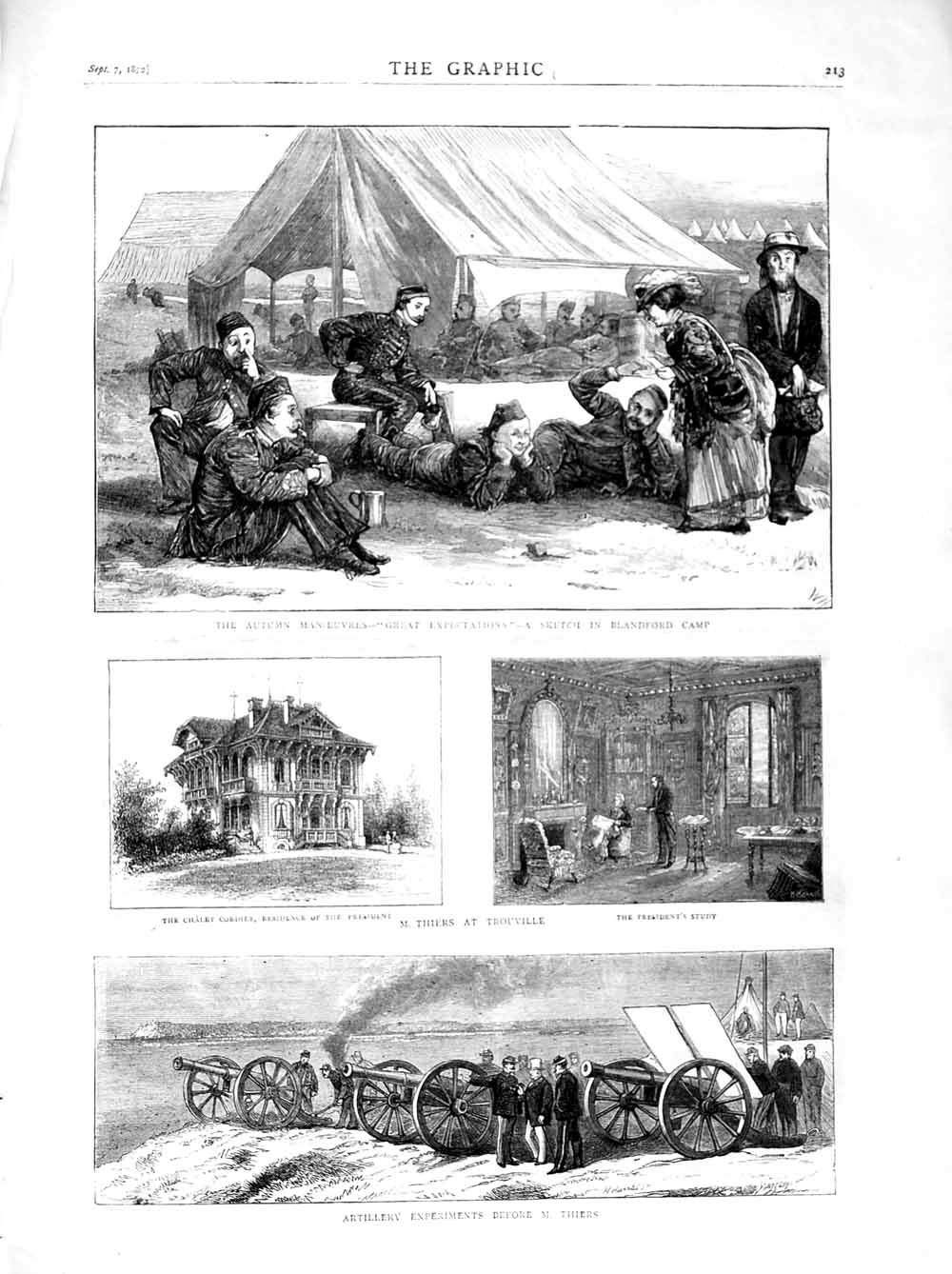 [Print 1872 Artillery Experiments Thiers Trouville Blandford 213M106 Old Original]