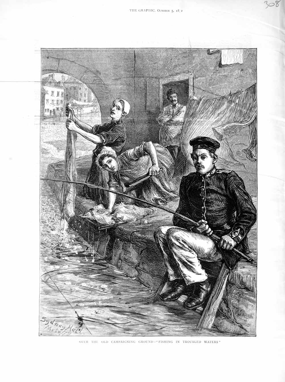 [Print *3043 1872 Soldier Fishing River Women Washing Clothes 308M106 Old Original]