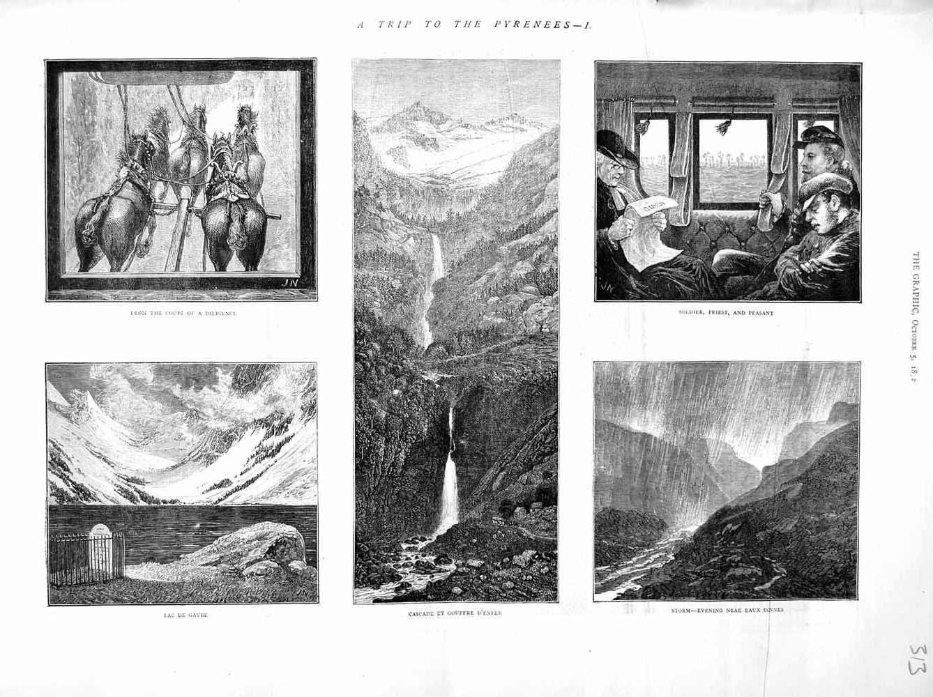 [Print 1872 Pyrenees Mountains Lac Gaube Eaux Bonnes D'Enfer 313M106 Old Original]