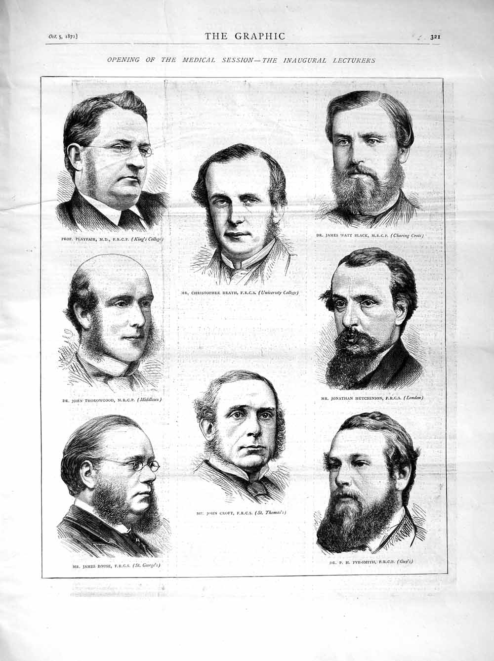 [Print 1872 Medical Heath Pye-Smith Croft Rouse Thorowgood Men 321M106 Old Original]