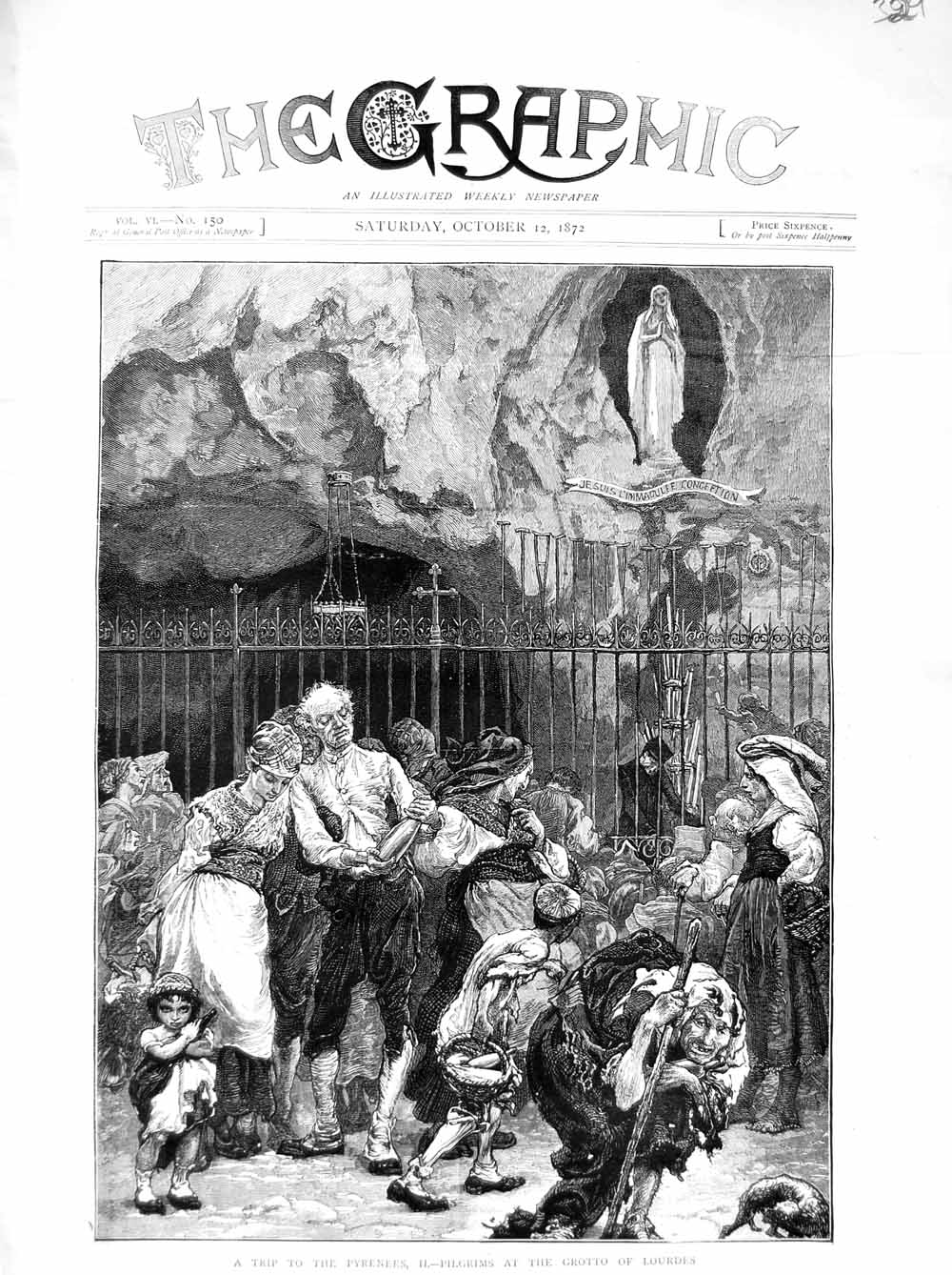 [Print 1872 Pyrenees Pilgrims Grotto Lourdes France People 329M106 Old Original]