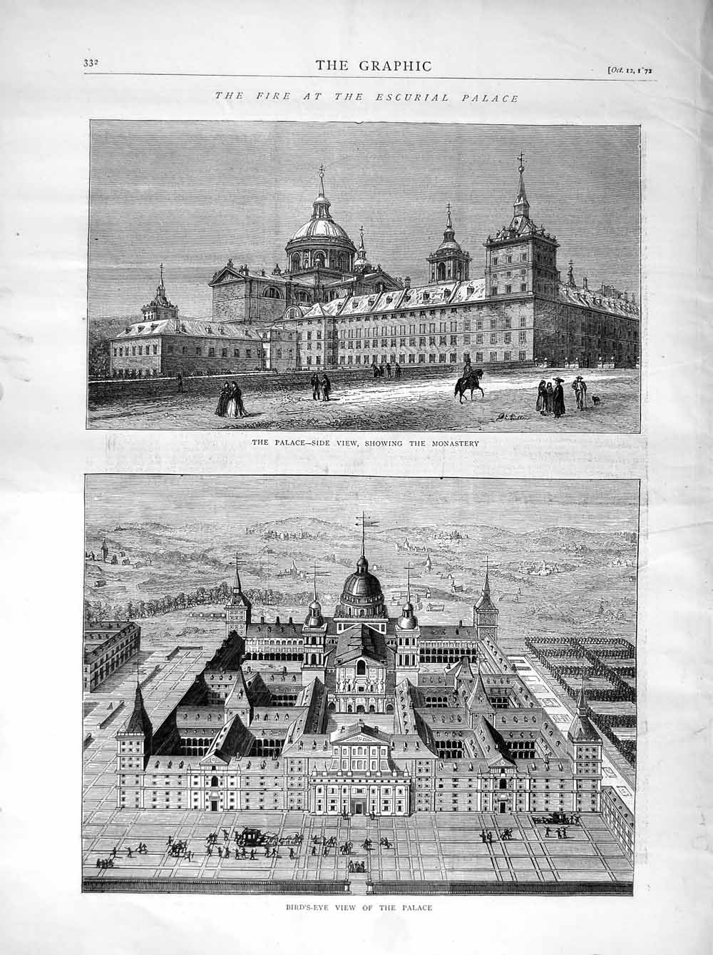 [Print 1872 Fire Escurial Palace Monastery Bird'S-Eye View 332M106 Old Original]