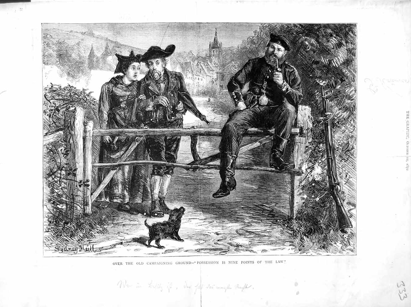 [Print 1872 Country Scene Man Smoking Pipe Dog 333M106 Old Original]