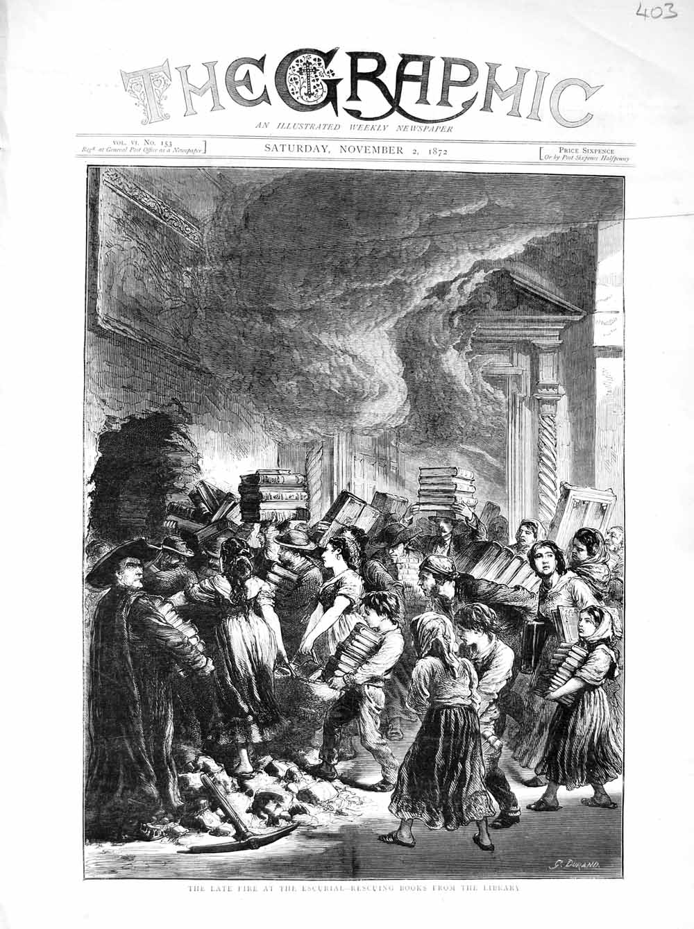 [Print 1872 Fire Escurial Library Books People Flames 403M106 Old Original]