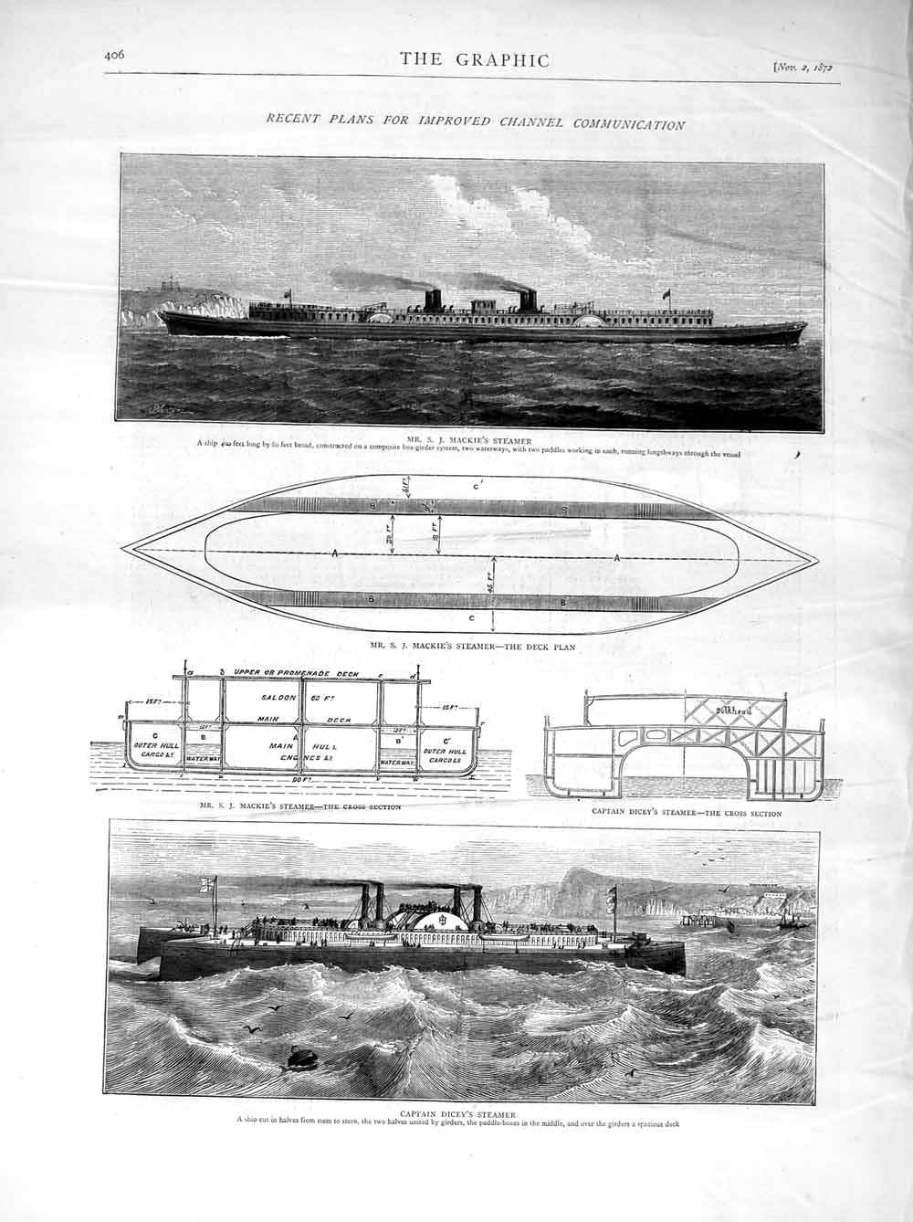 [Print 1872 Mackie English Channel Steamer Captain Dicey Plan 406M106 Old Original]