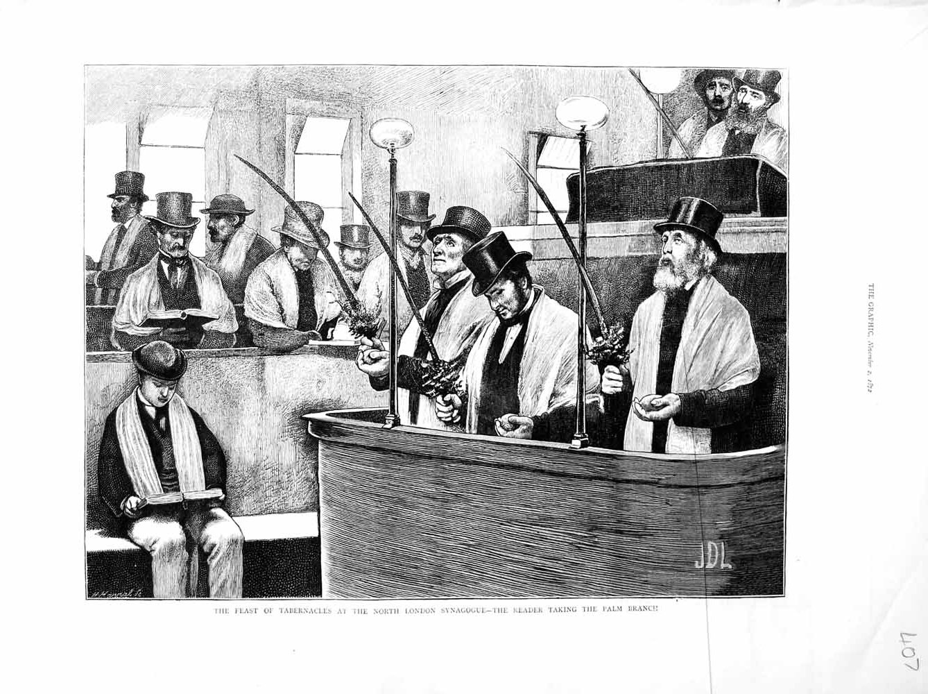 [Print 1872 Feast Tabernacles London Synagogue Palm Branch 407M106 Old Original]