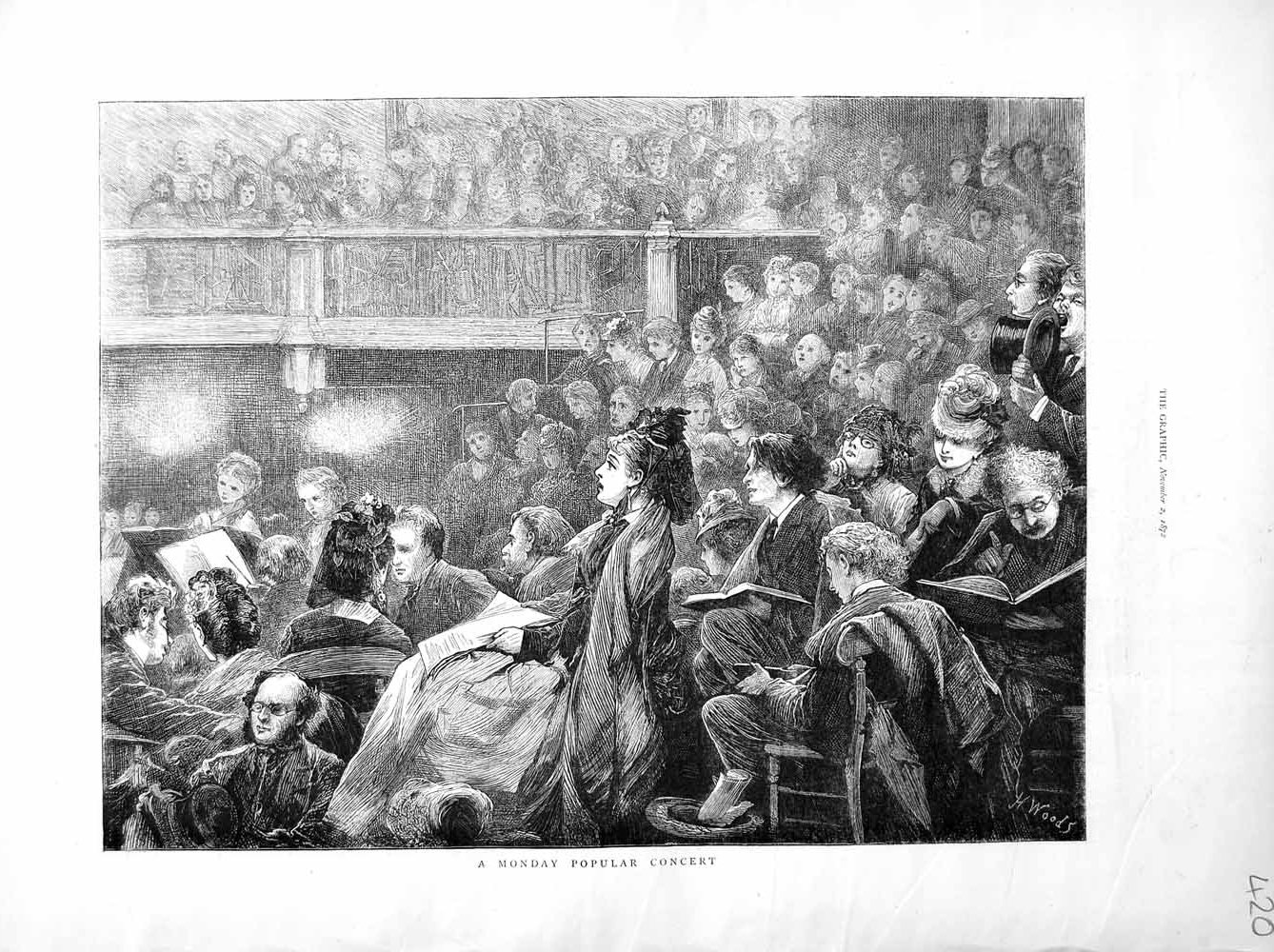[Print 1872 Monday Music Concert Audience People 420M106 Old Original]