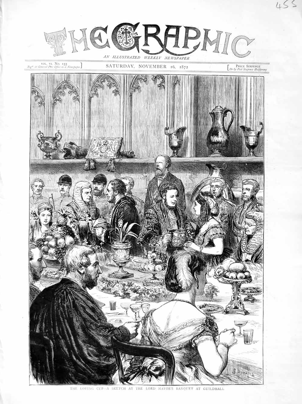 [Print *3042 1872 Loving Cup Lord Mayor'S Banquet Guildhall London 453M106 Old Original]