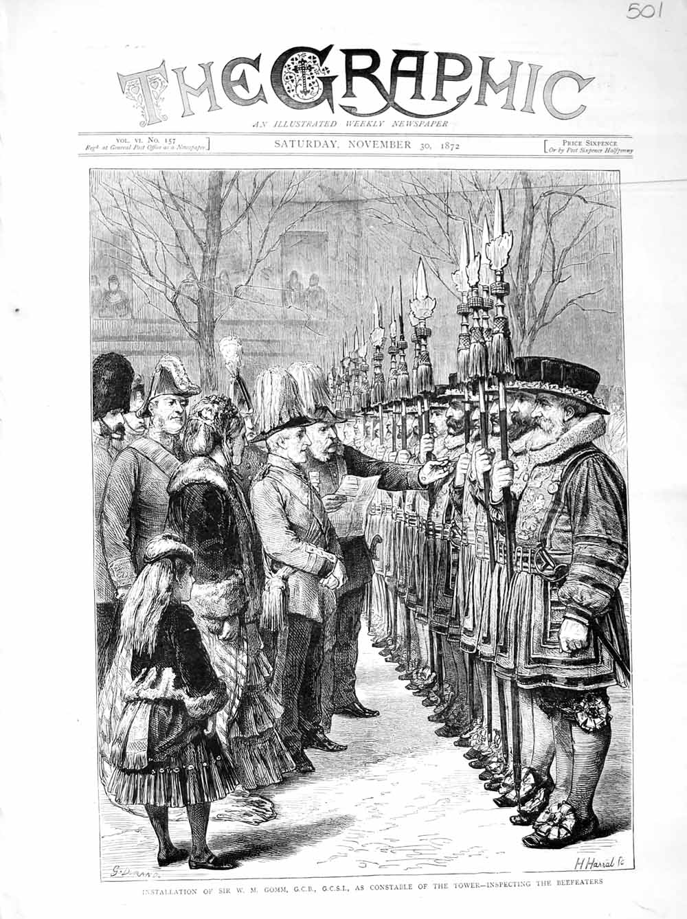 [Print 1872 Sir Gomm Constable Tower London Beefeaters Guards 501M106 Old Original]
