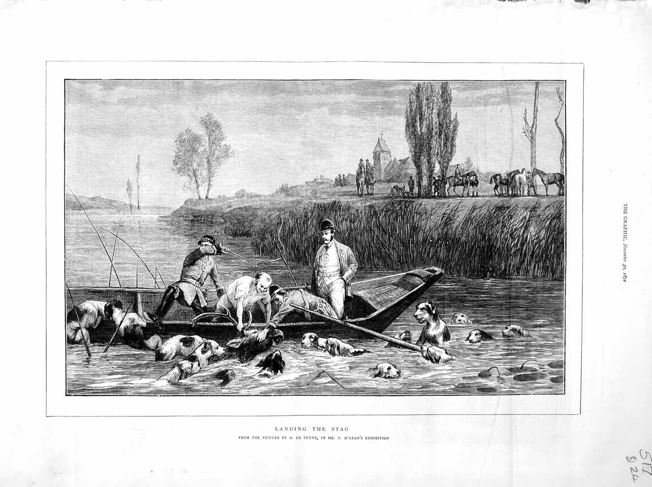 [Print 1872 Stag Hunting Men River Boat Dogs Hounds Country 517M106 Old Original]