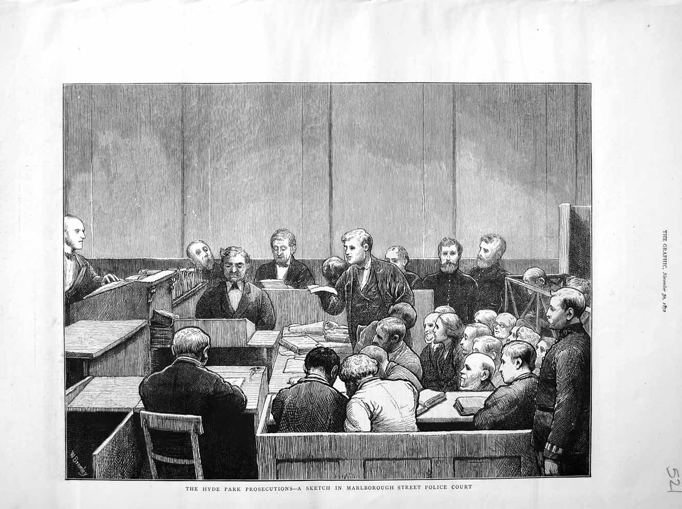 [Print 1872 Hyde Park Marlborough Street Police Court Scene 521M106 Old Original]