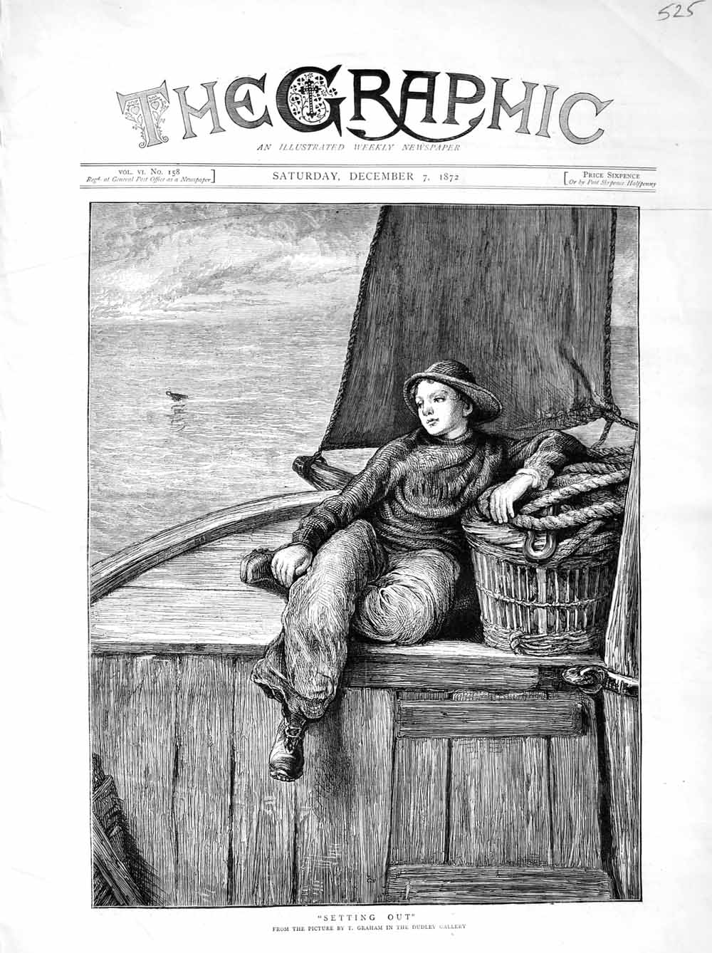 [Print 1872 Dudley Gallery Young Boy Fishing Boat Basket 525M106 Old Original]