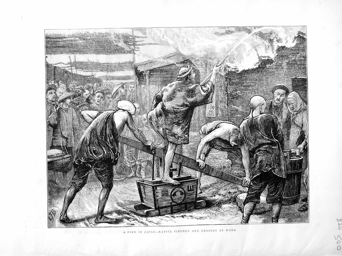 [Print 1872 Fire Japan Native Firemen Engines Work Flames Hose 540M106 Old Original]