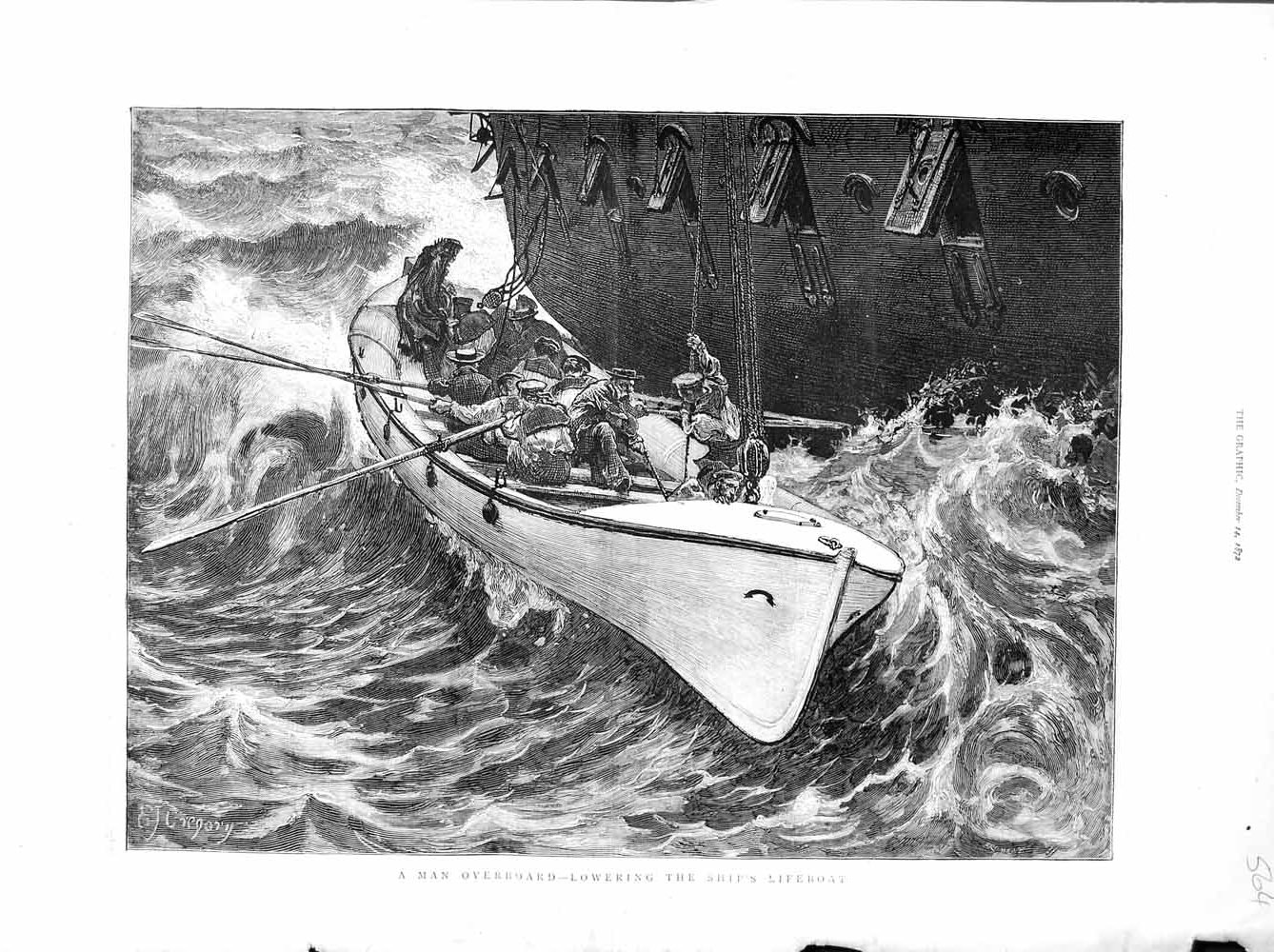 [Print 1872 Gregory Art Man Overboard Ship Rescue Lifeboat 564M106 Old Original]