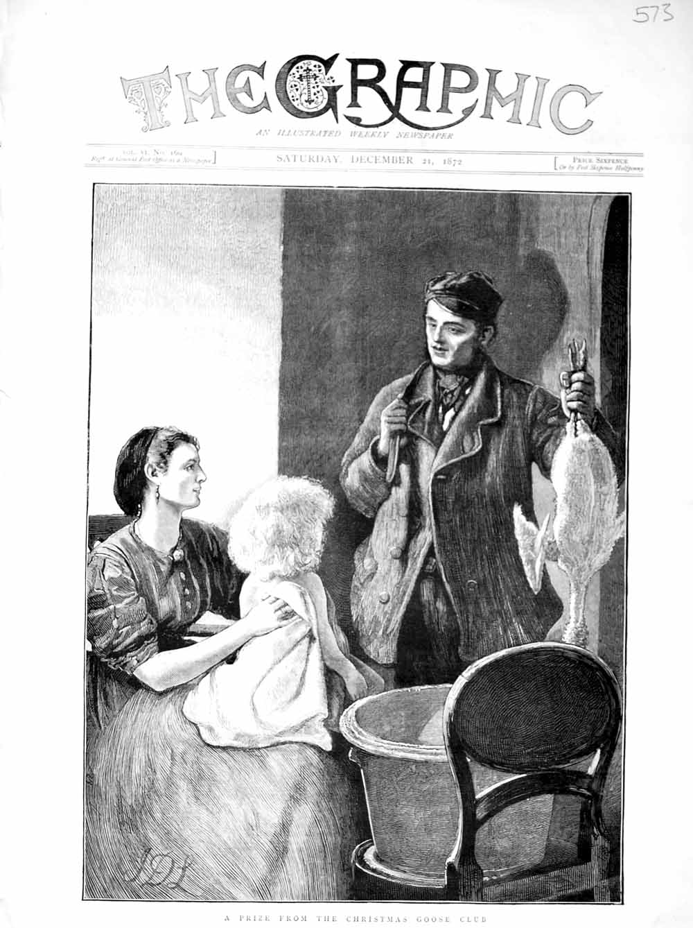 [Print 1872 Christmas Goose Mother Little Girl House Chair 573M106 Old Original]
