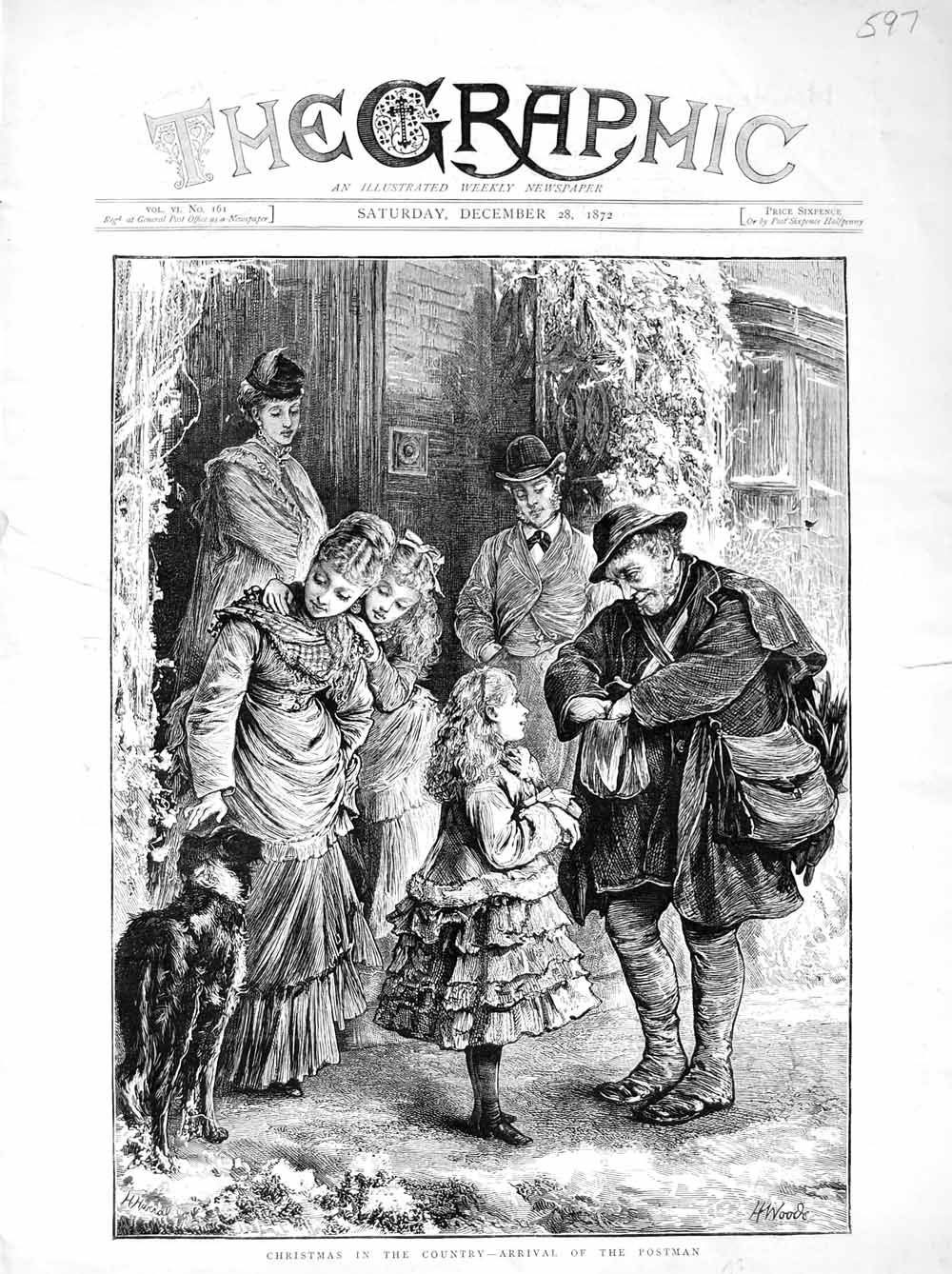 [Print 1872 Country Christmas Postman Country Family Dogs 597M106 Old Original]