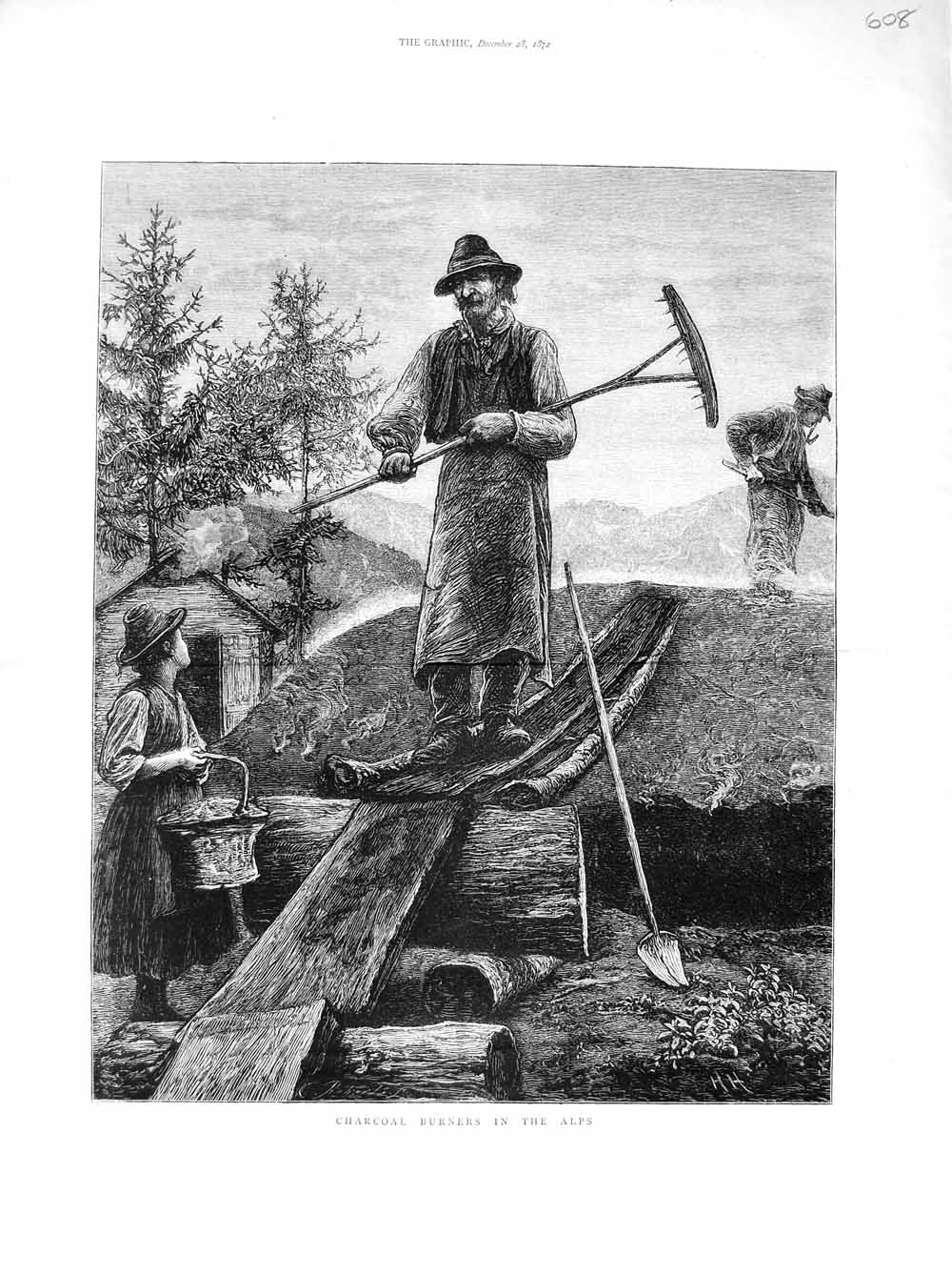 [Print 1872 Scene Charcoal Burners Alps Mountains Country 608M106 Old Original]