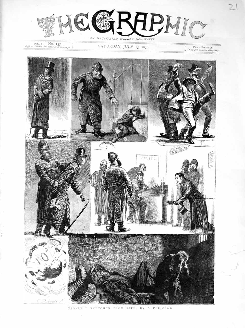 Print 1872 Life Sketch Police Prisoners Lock Up Children Old Original