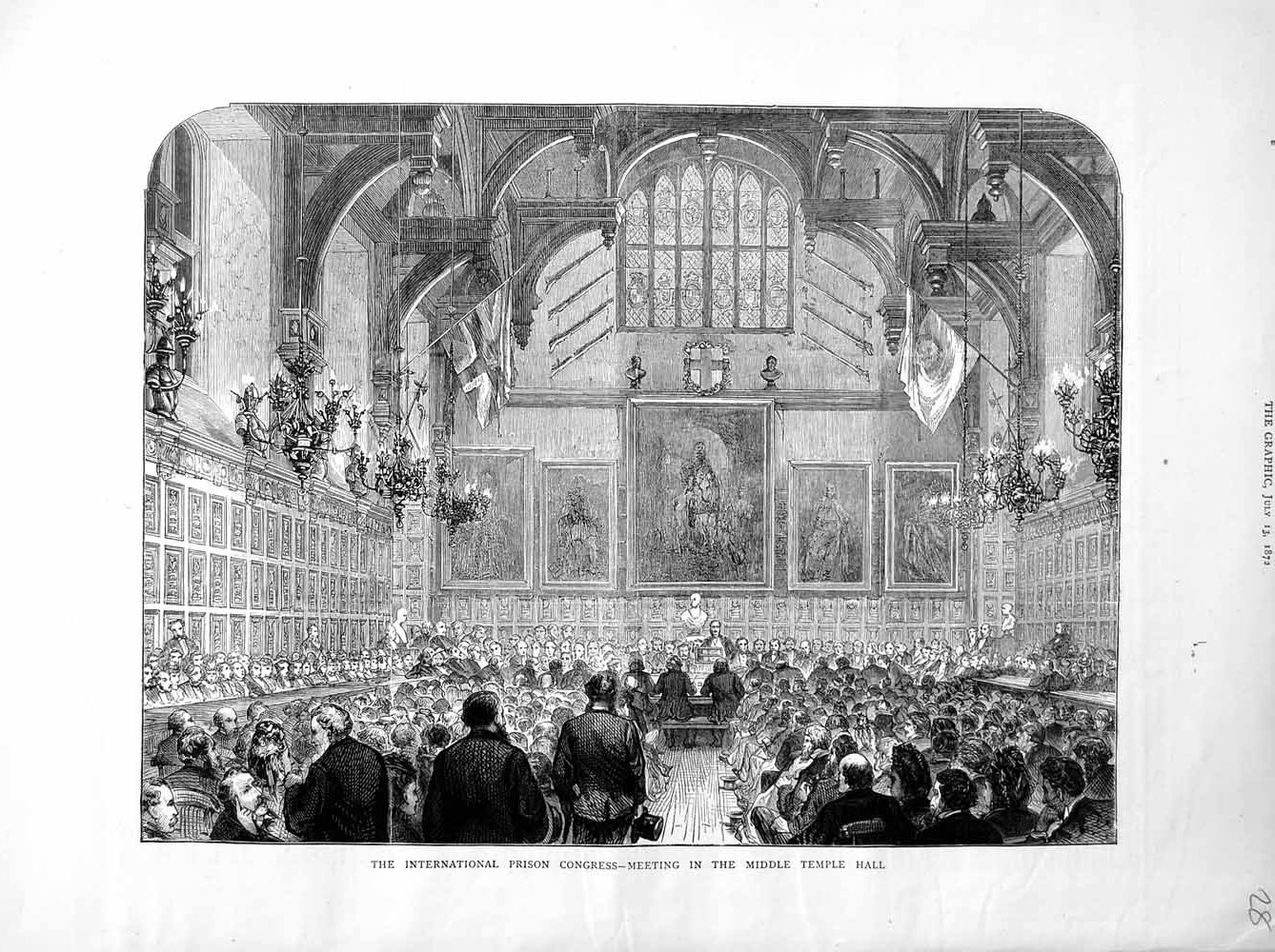 Print 1872 International Prison Congress Middle Temple Hall Old Original