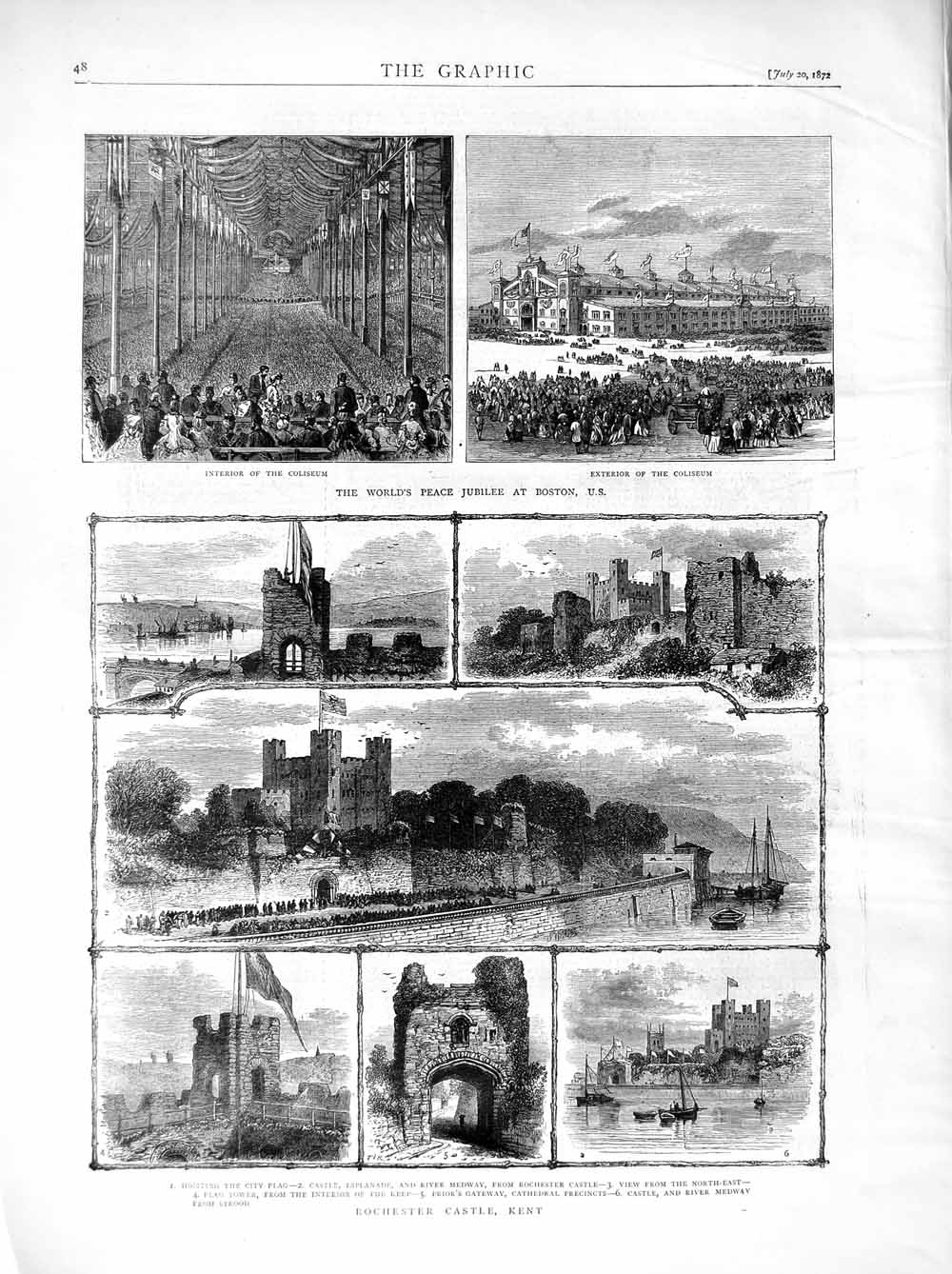Print 1872 Peace Jubilee Boston Rochester Castle Kent England  Old Original