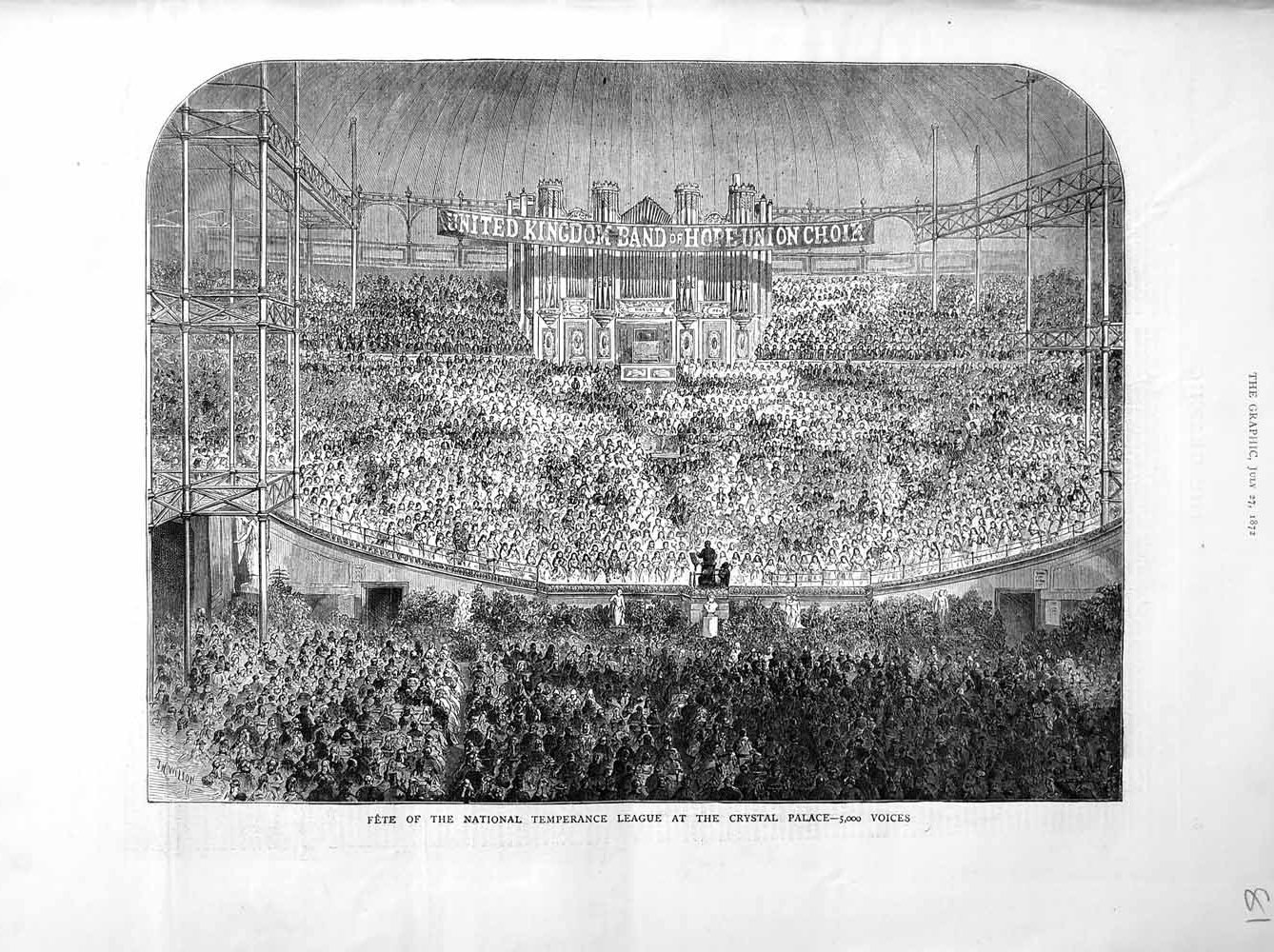 [Print Of *3041 1872 Fete National Temperance League Crystal Palace Old Original]