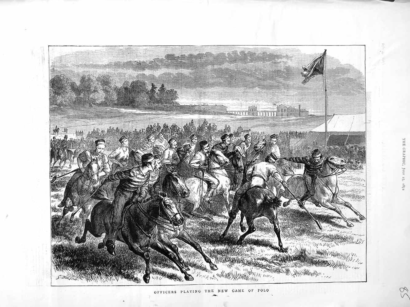 [Print 1872 War Officers Horses Sport Polo Game  Old Original]