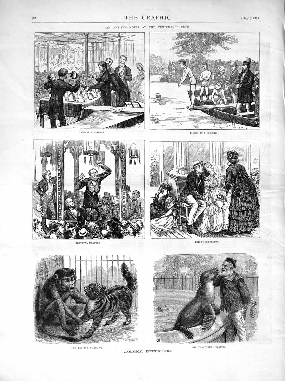 [Print 1872 Hand-Bell Ringers Zoo Teetotal Oratory People Lake Old Original]