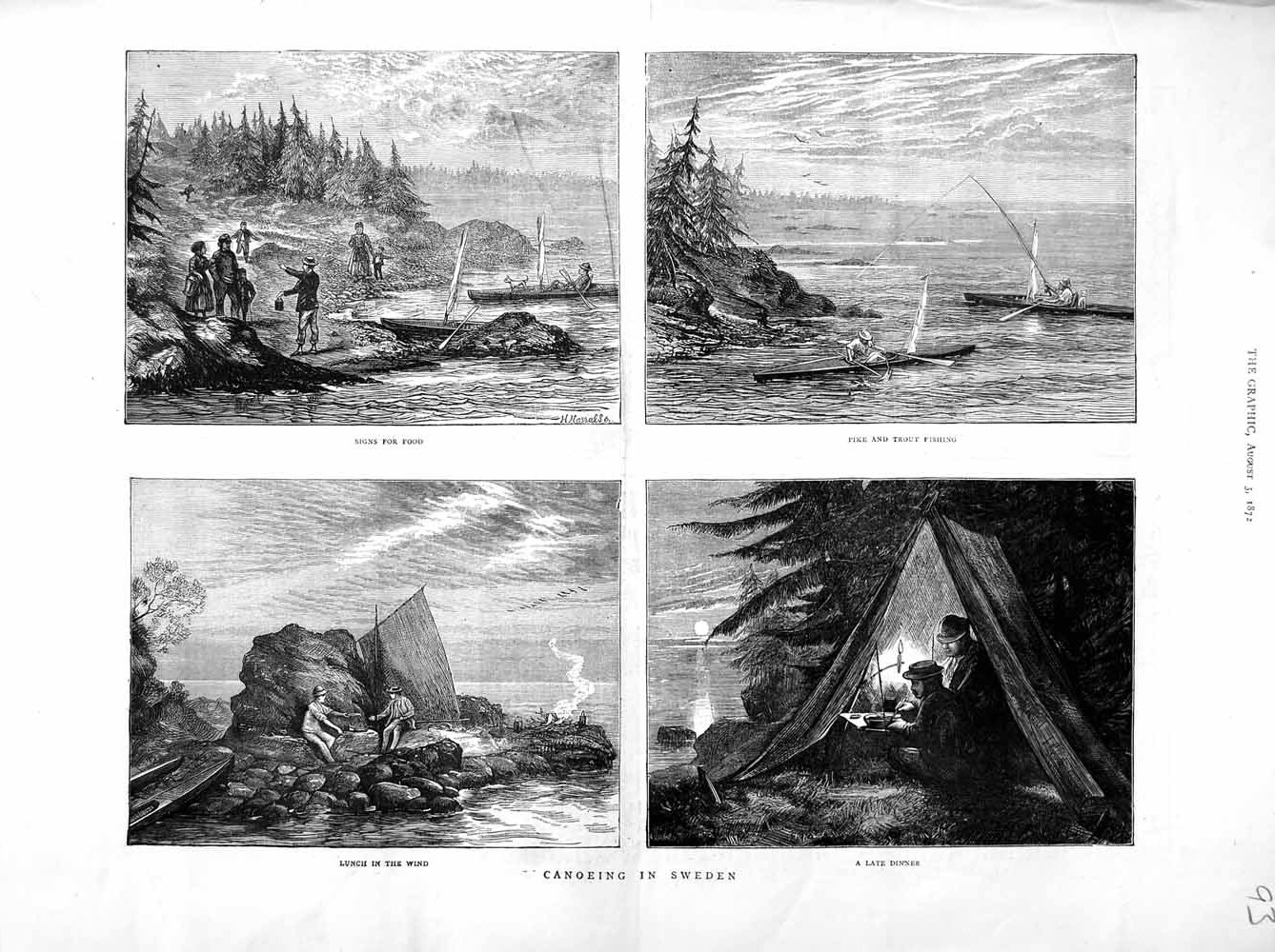 [Print 1872 Canoeing Sweden Pike Trout Fishing Boats Tent Camp Old Original]