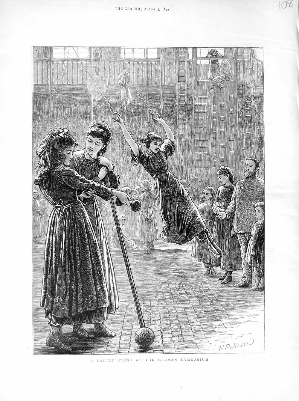 Print 1872 Ladies Exercise German Gymnasium Sport  Old Original