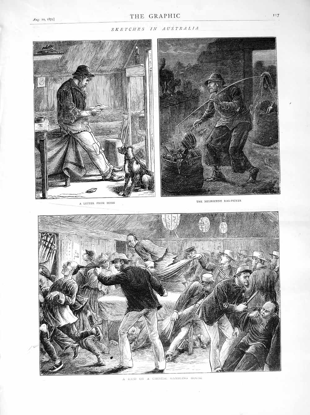 [Print 1872 Australia Melbourne Rag-Picker Chinese Gambling  Old Original]