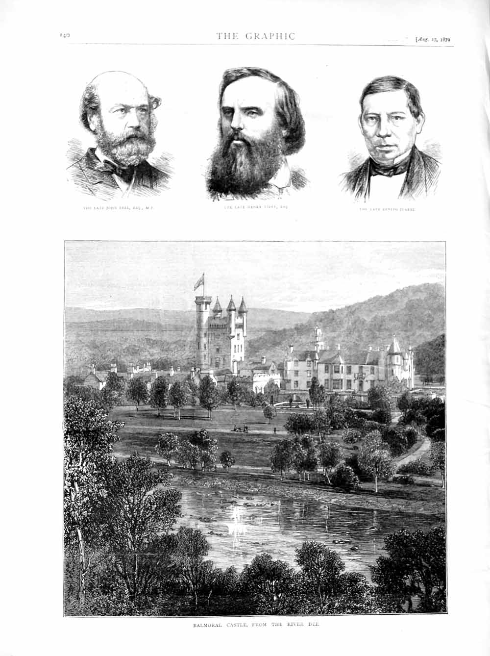 Print 1872 Balmoral Castle River Dee Scotland Peel Tidey Men  Old Original