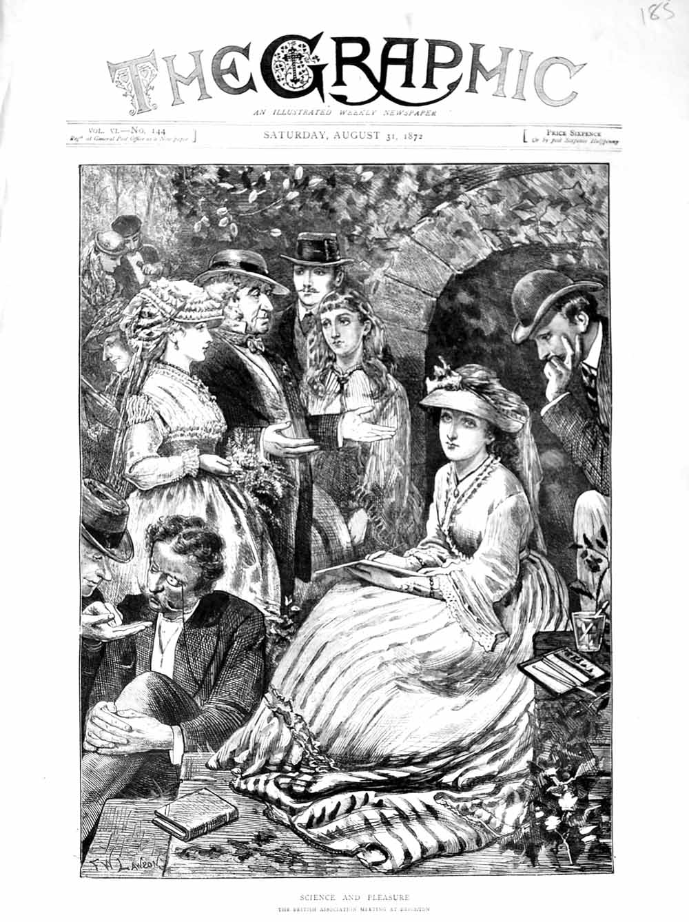 Print 1872 British Association Meeting Brighton People  Old Original
