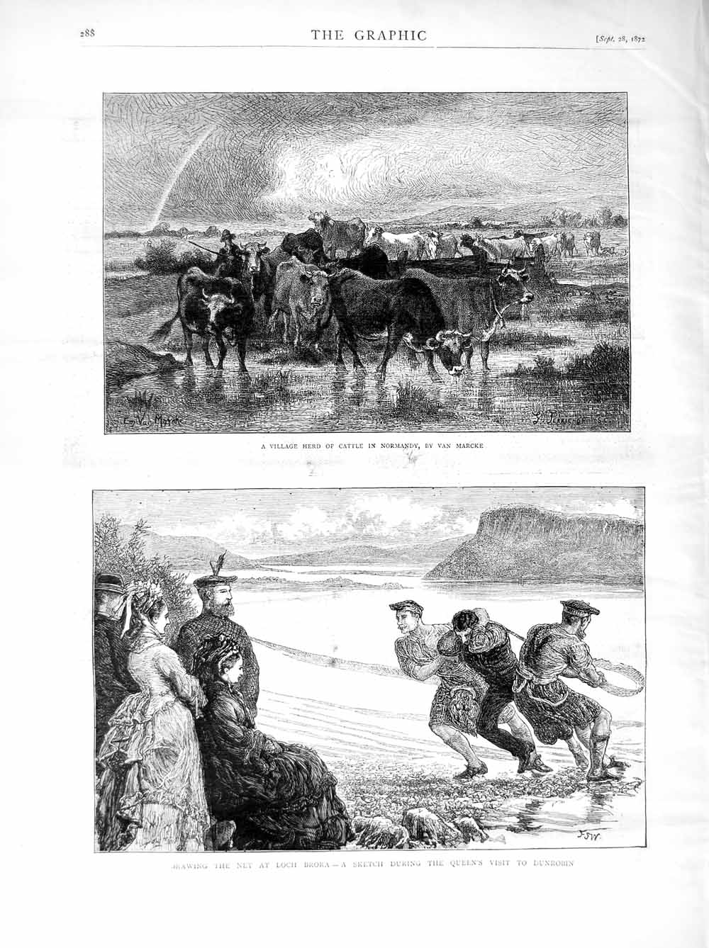 Print 1872 Cattle Normandy Queen Fishing Loch Brora Scotland  Old Original