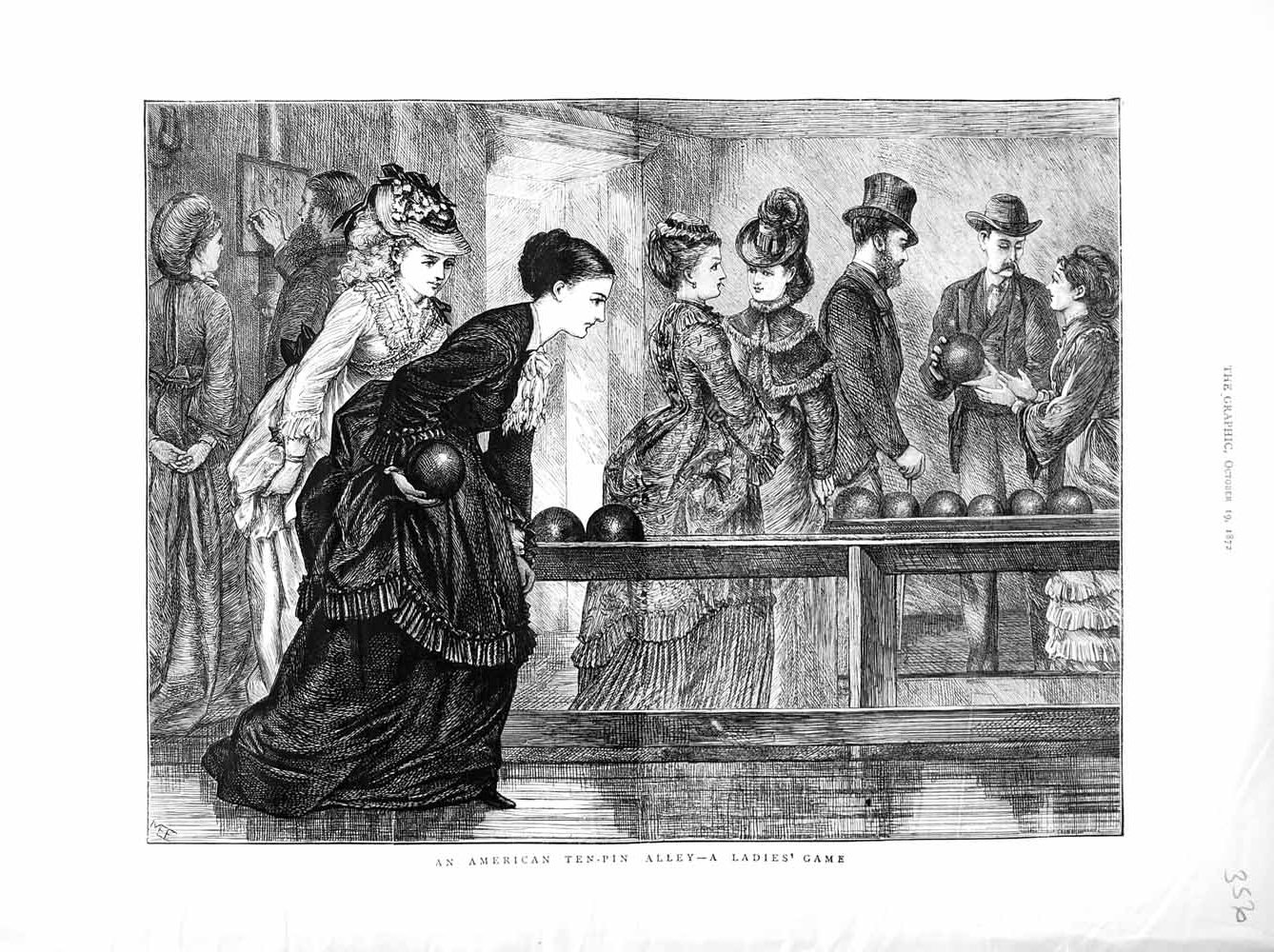 [Print 1872 American Tin-Pan Alley Ladies Games Sport Bowling 356M106  Old Original]