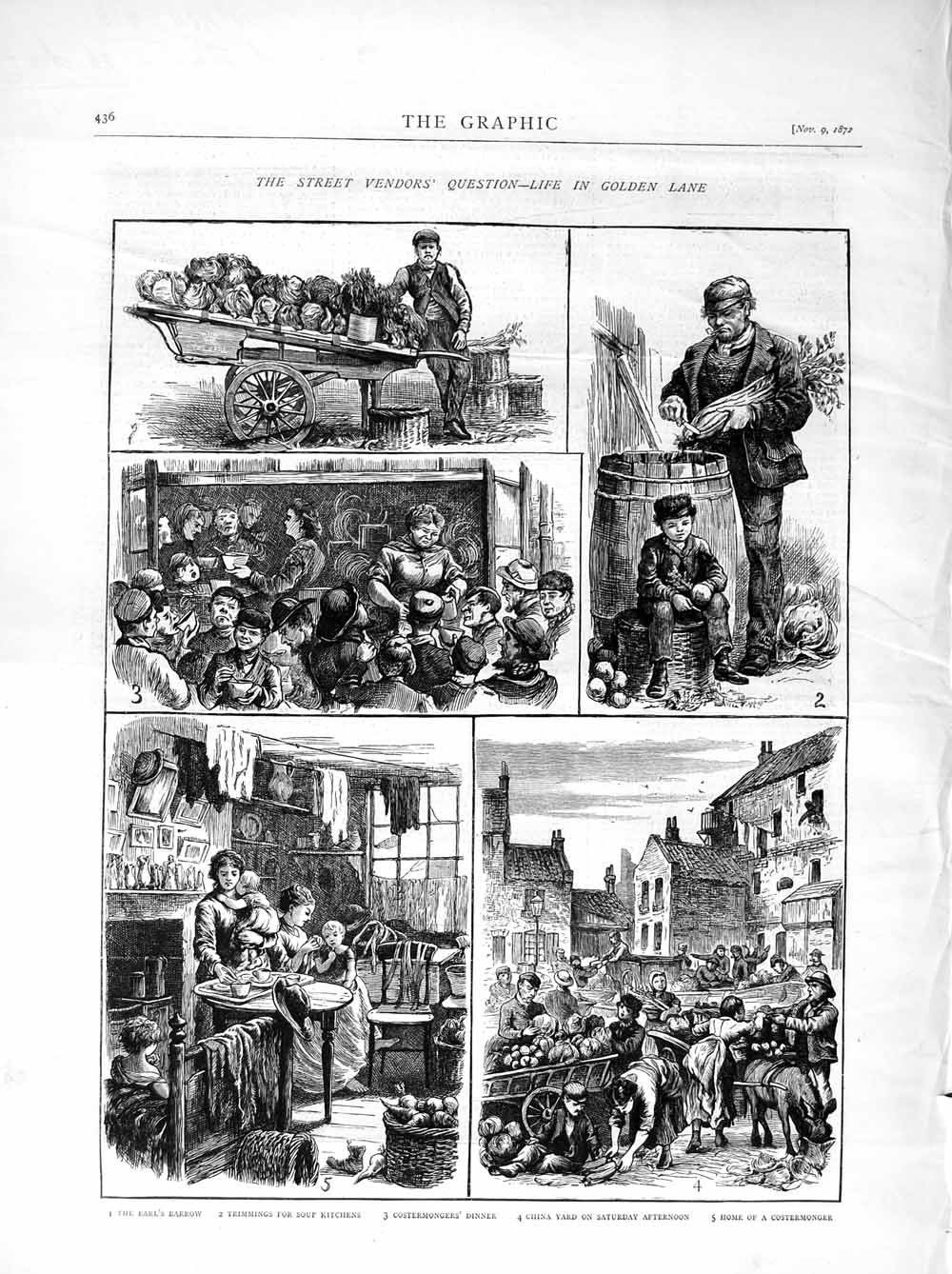 Print 1872 Street Vendors London Soup Kitchens China Yard Old Original