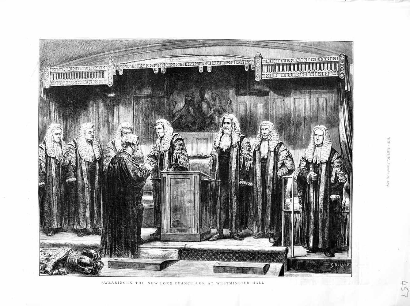 [Print 1872 Swearing-In Lord Chancellor Westminster London  Old Original]